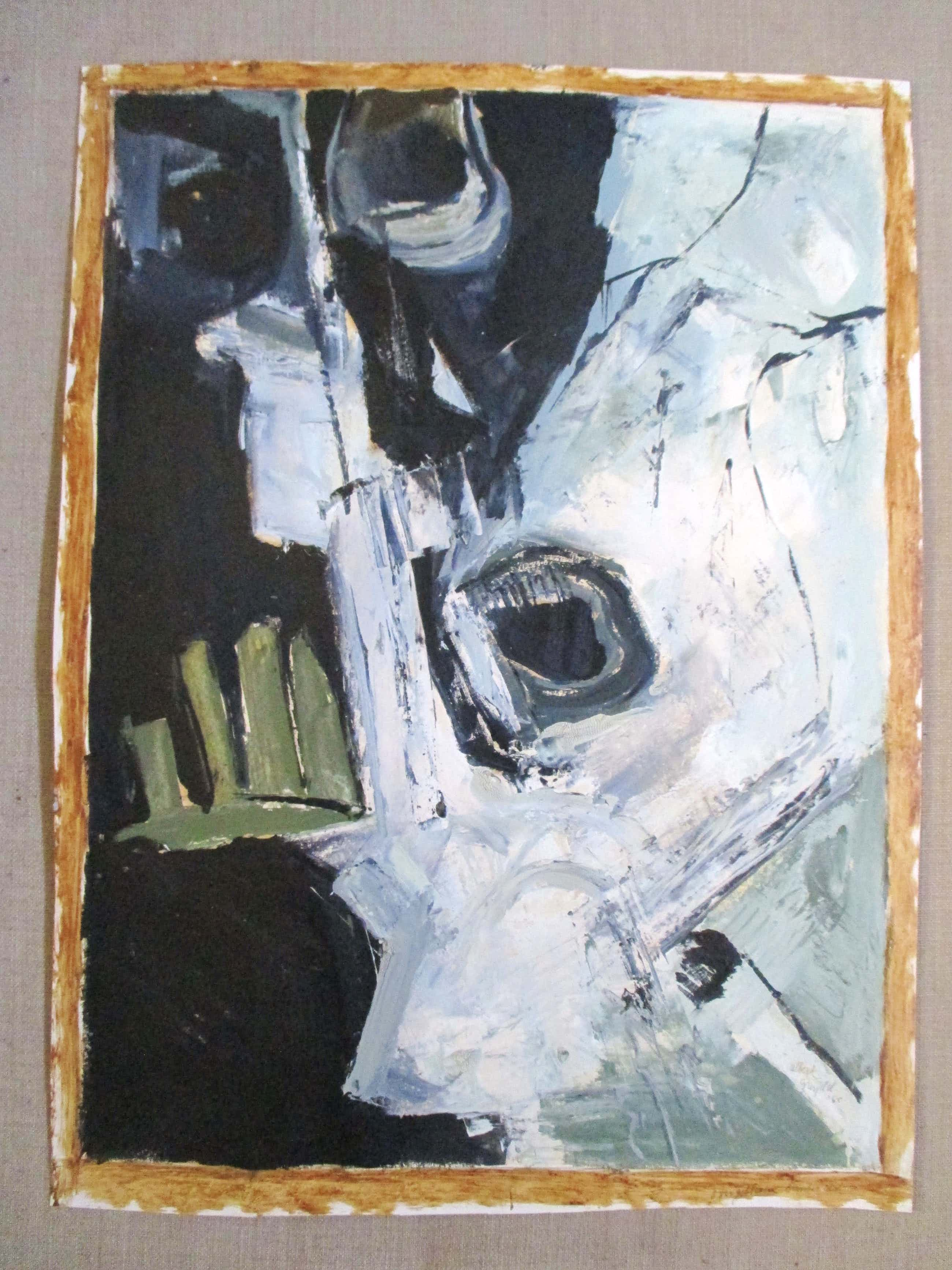 """Albert Grosfeld - Schilderij op papier """"Overgebleven bunker resten"""" kopen? Bied vanaf 40!"""