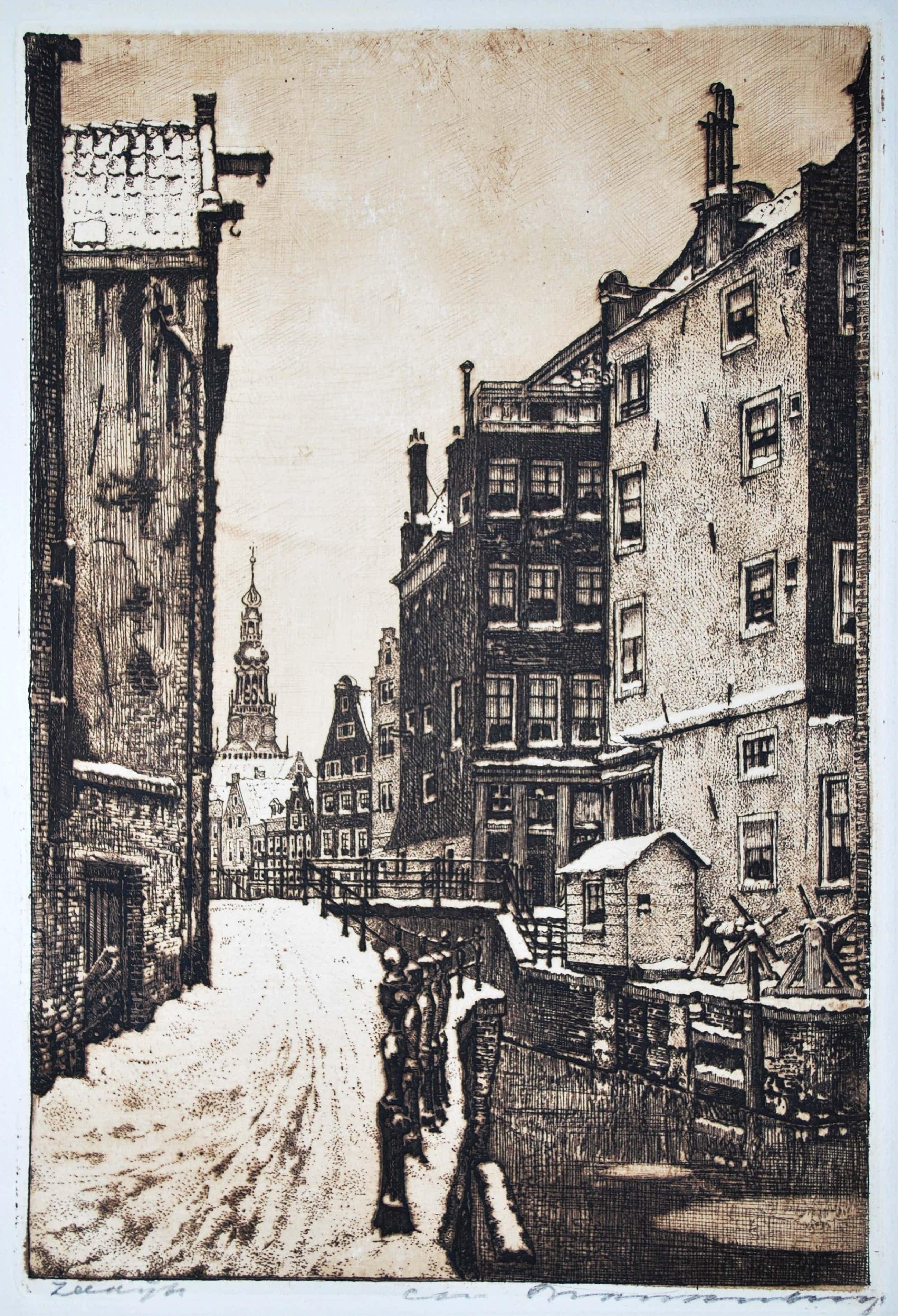 Cornelis Brandenburg - Ets - Amsterdam, de Zeedijk in de Winter kopen? Bied vanaf 75!