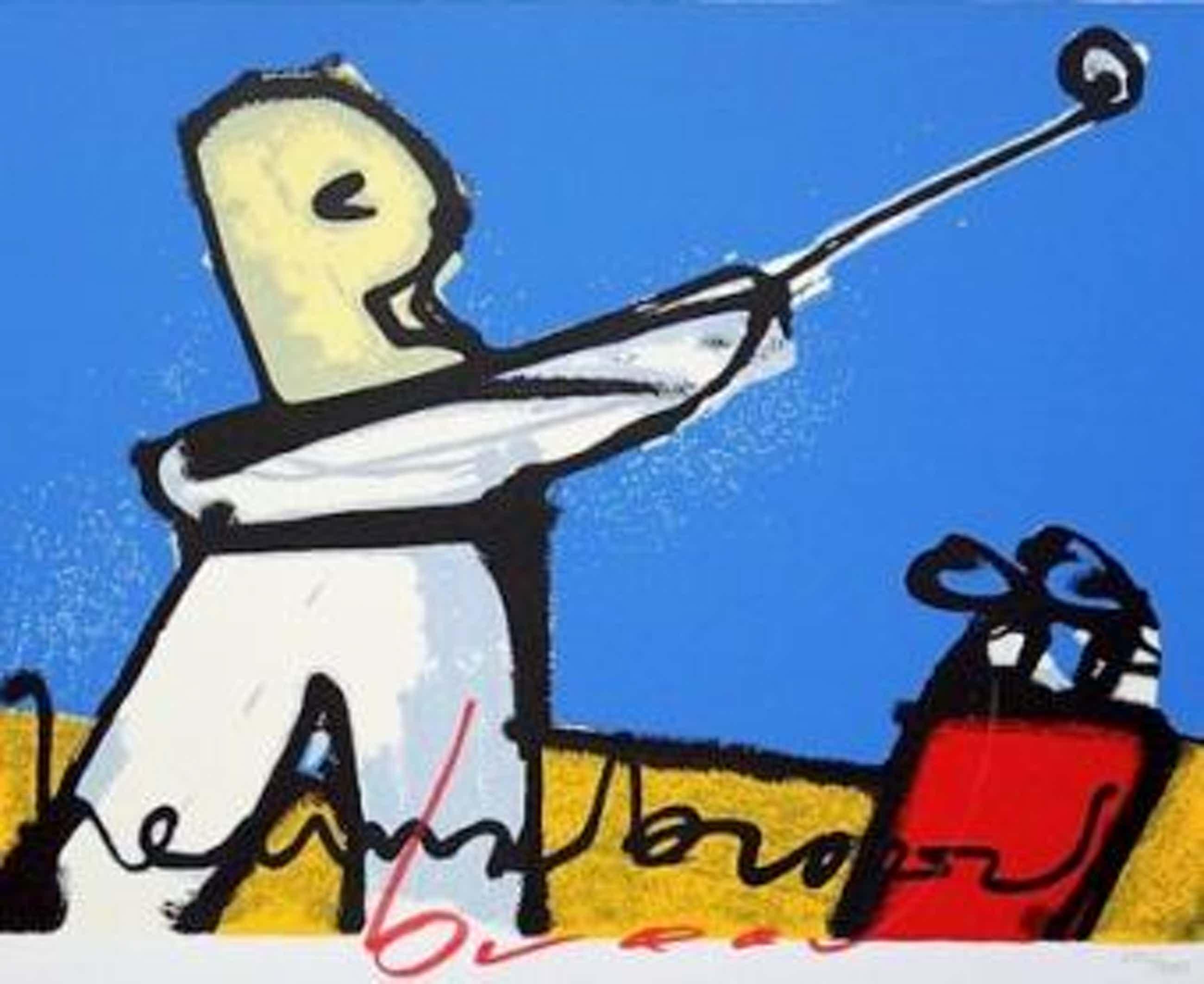 Herman Brood - Golfspeler met blauwe achtergrond kopen? Bied vanaf 250!