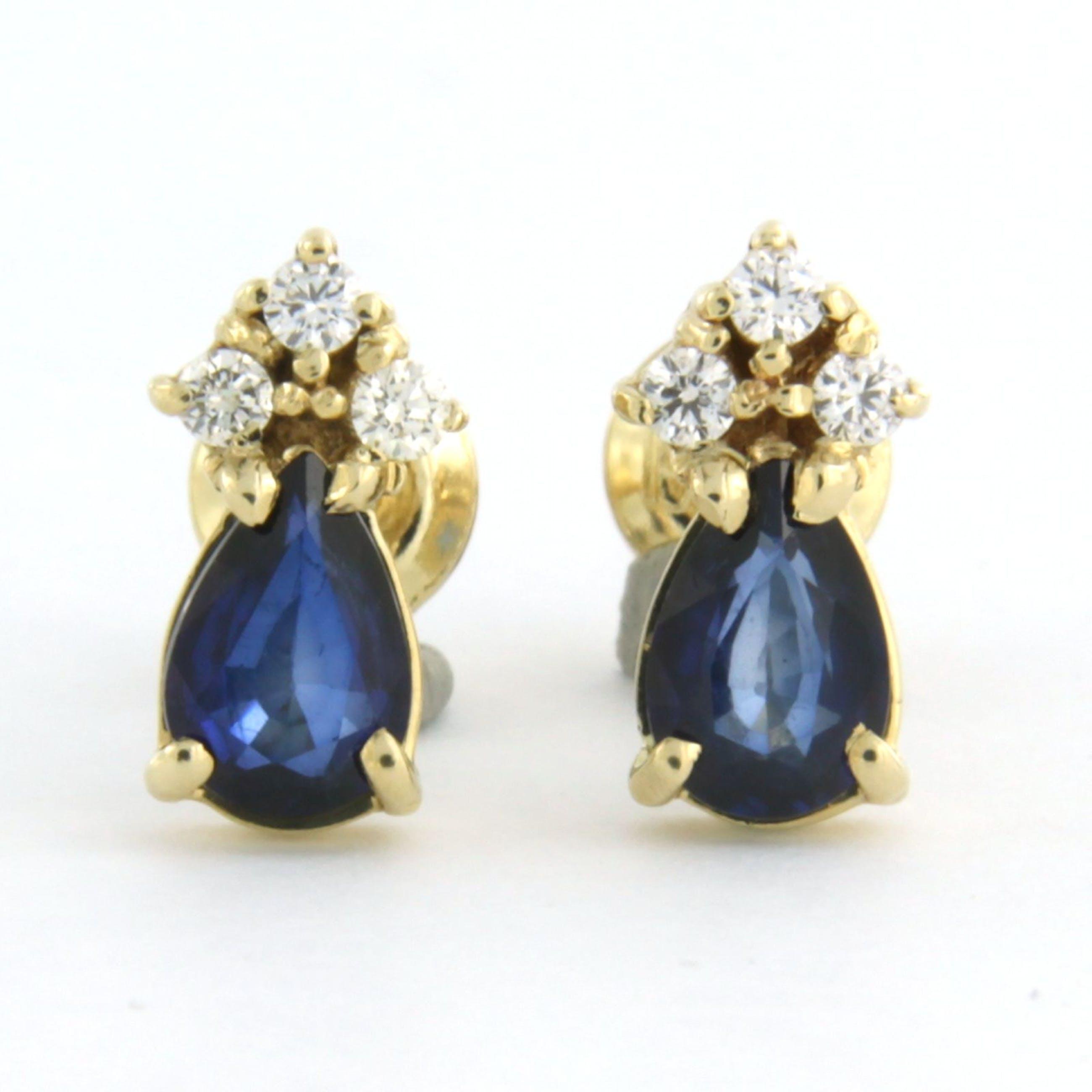 14k geelgouden oorknoppen bezet met saffier 1,20ct en briljant geslepen diamant kopen? Bied vanaf 260!