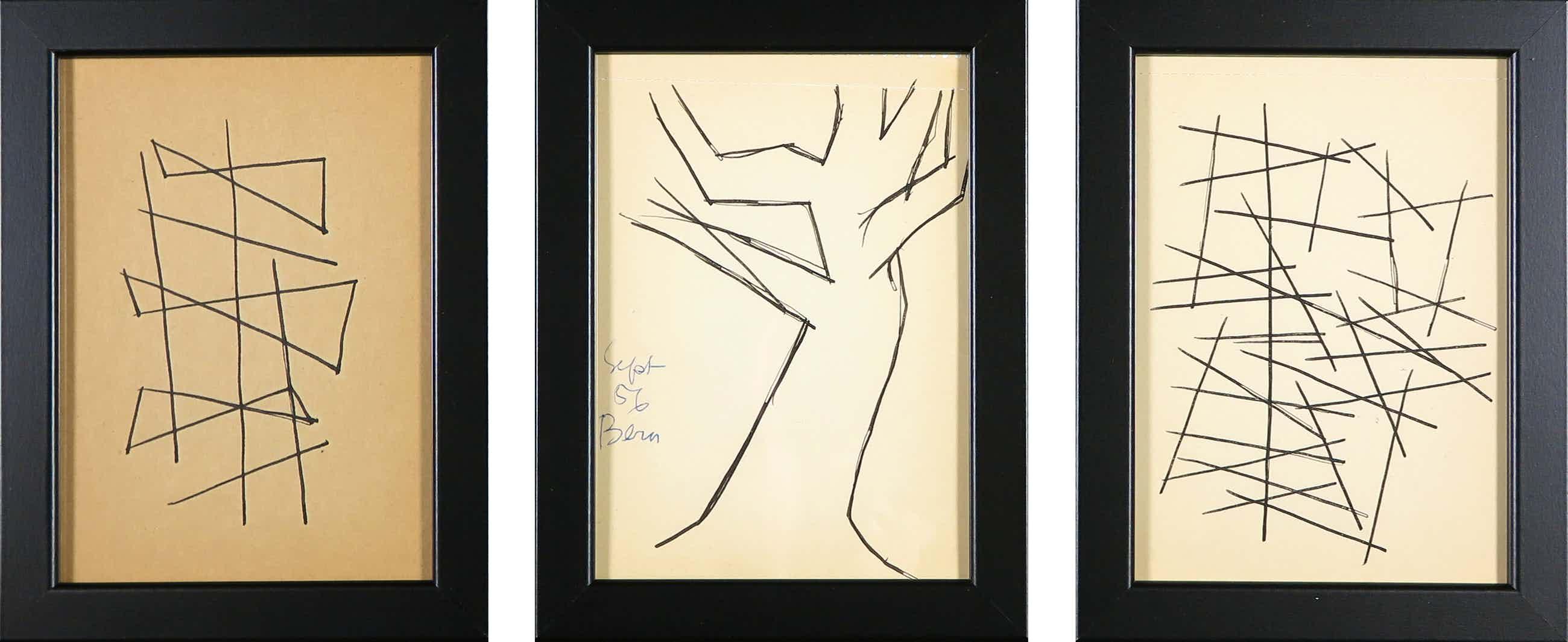 Siep van den Berg - Lot van drie tekeningen, Abstracte composities - Ingelijst kopen? Bied vanaf 35!