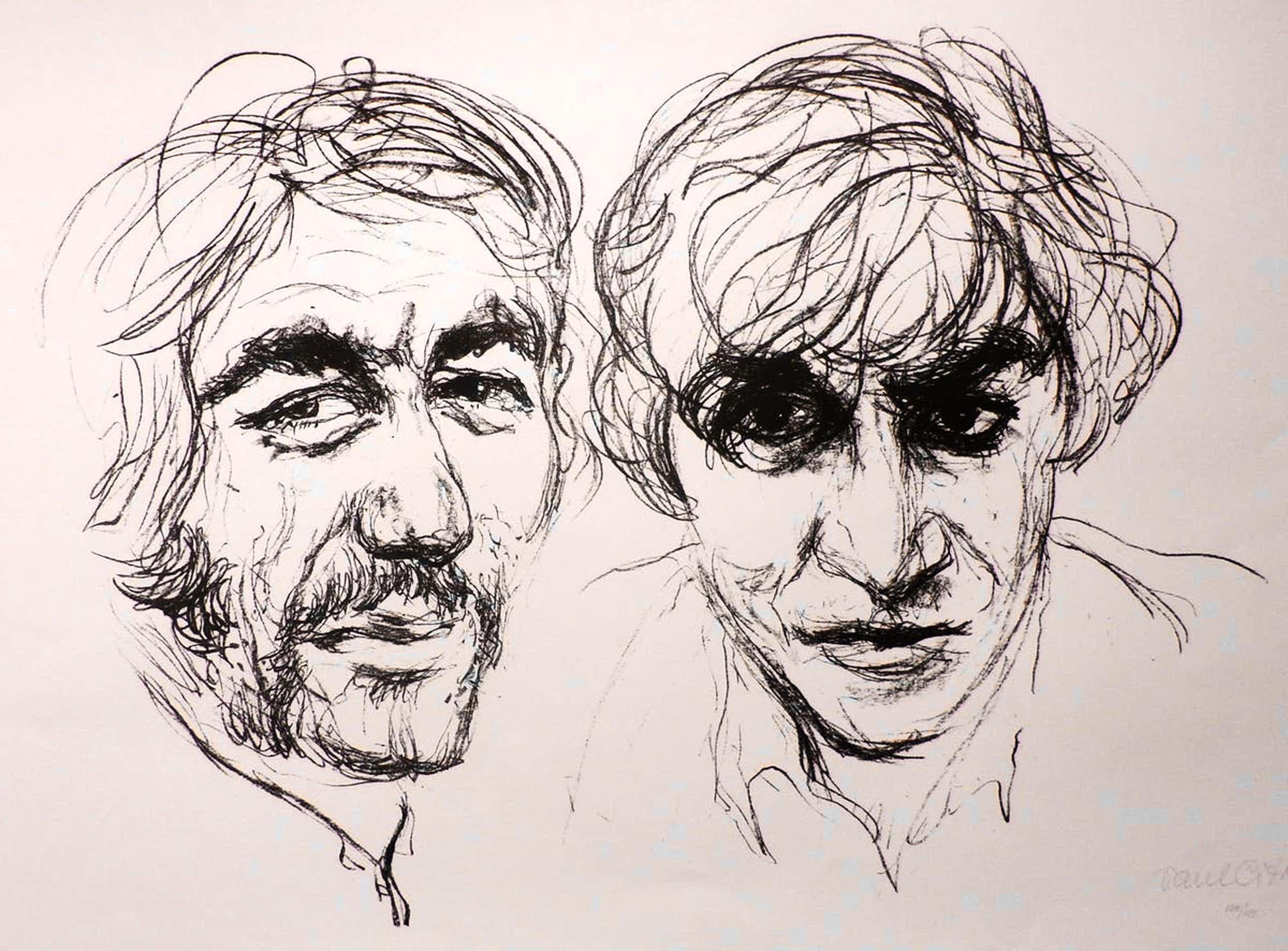 Paul Citroen - litho: 2 heren - 1971 + voorblad met foto van Paul Citroen kopen? Bied vanaf 55!