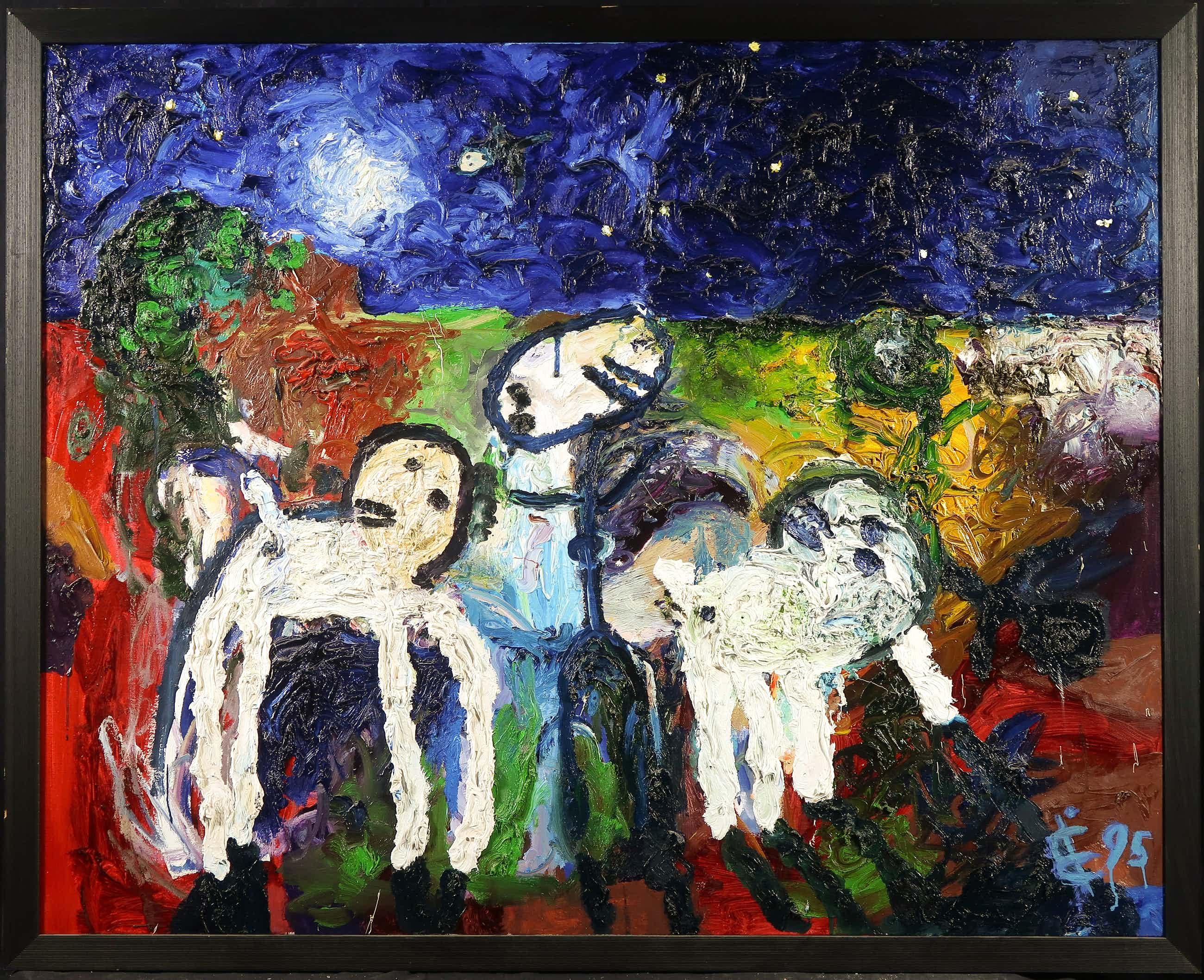 Albert Niemeyer - Acryl op doek, Witte dieren in het donker - Ingelijst (Zeer groot) kopen? Bied vanaf 1403!