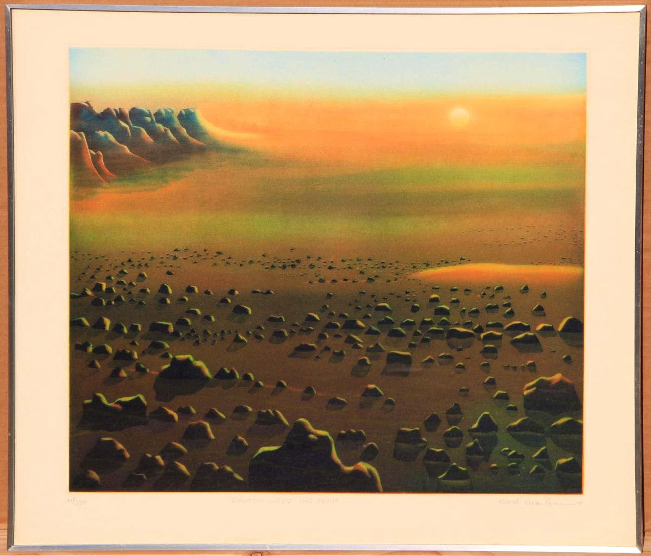 Arnd Maibaum - Genesis Sonne und Wüste - Orignal-Farbradierung limitiert 17/350 kopen? Bied vanaf 90!