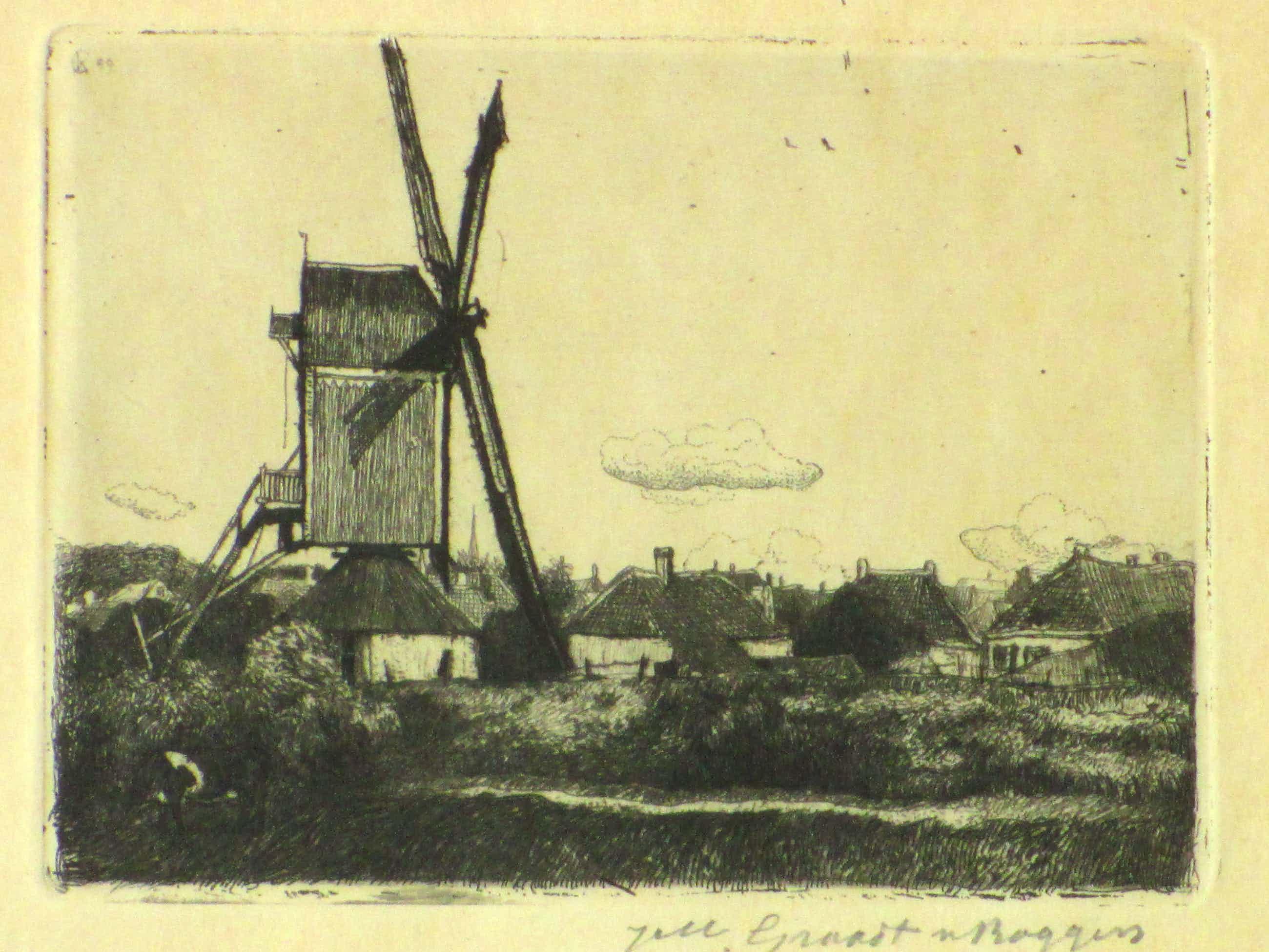 Johannes Graadt van Roggen - Gezicht op Grave met molen - Ets kopen? Bied vanaf 60!
