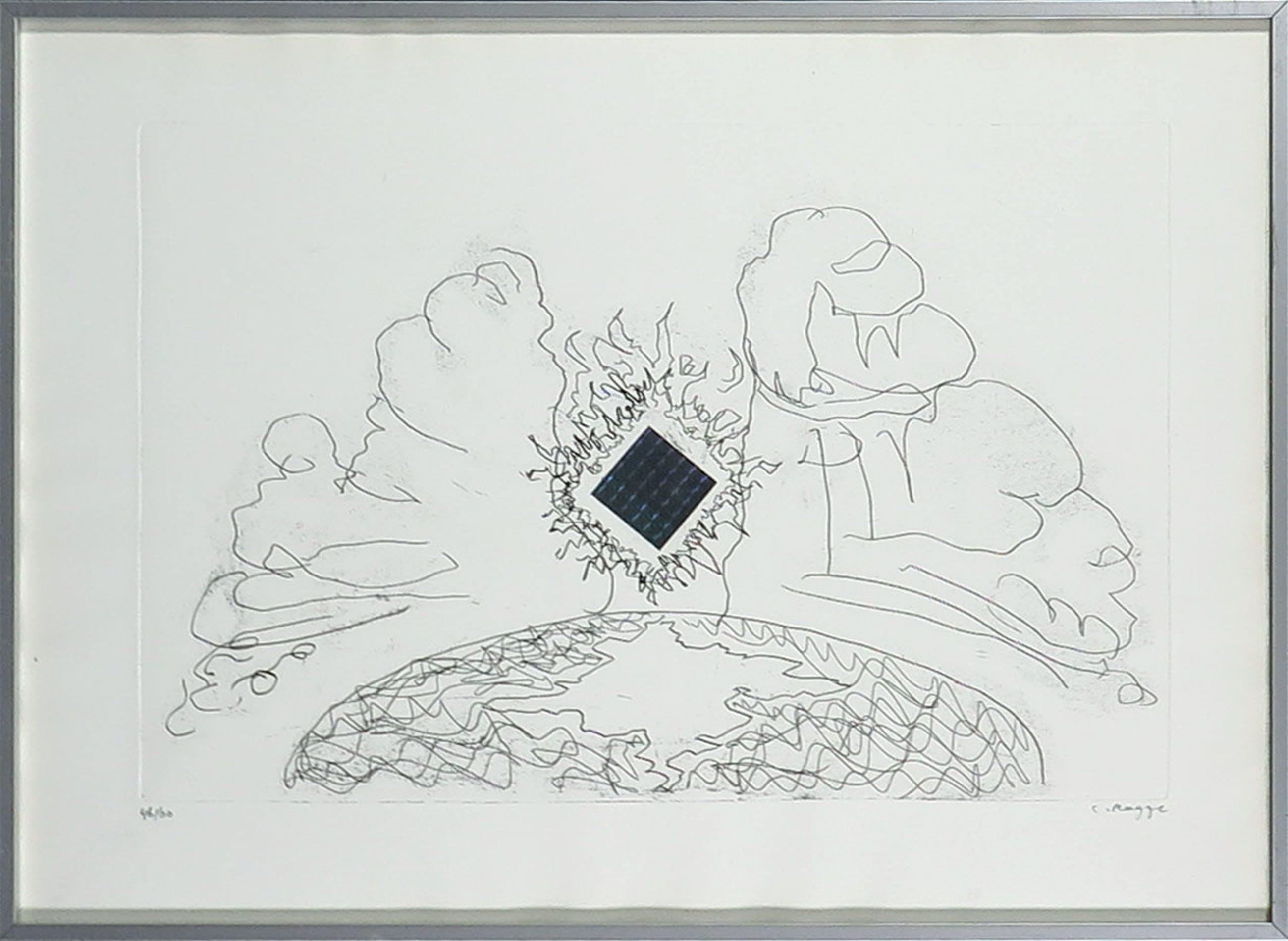 Cornelius Rogge - Ets en collage, Zonder titel - Ingelijst kopen? Bied vanaf 20!