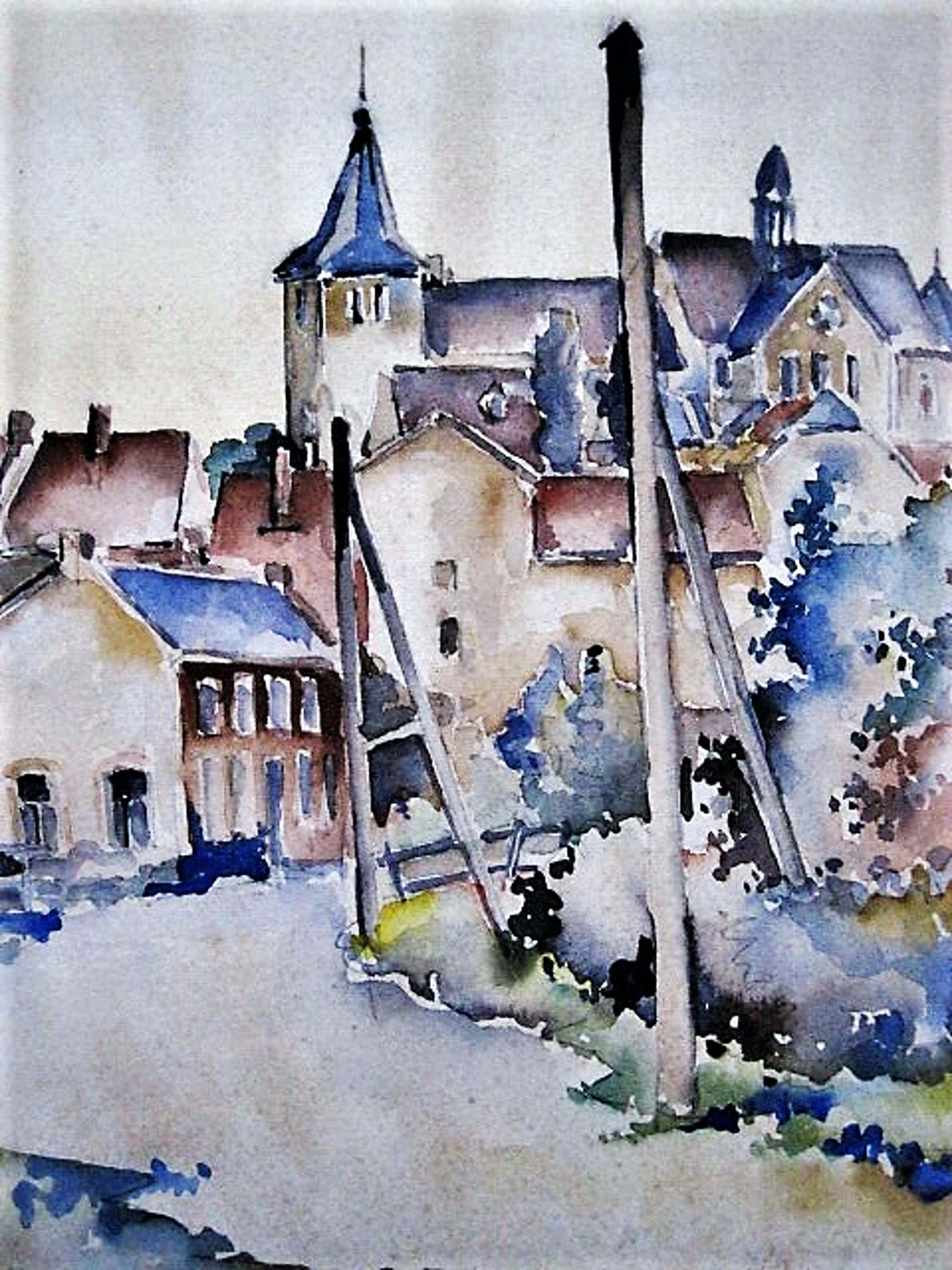 Jan Homan - omstreeks 1950 geschilderd Aquarel - Dorpsgezicht Staphorst(?) - gesigneerd kopen? Bied vanaf 20!