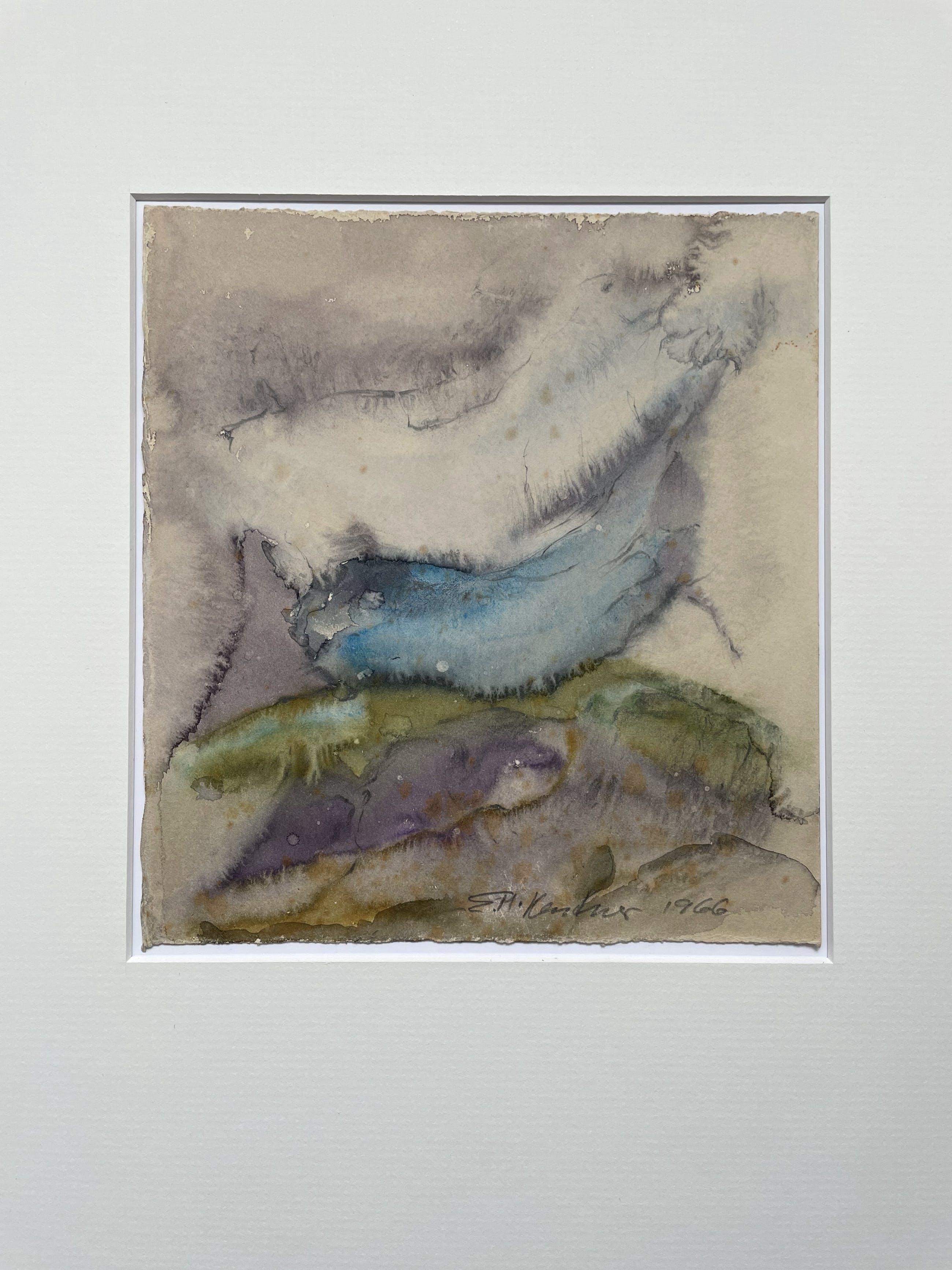 Eva Maria Kentner - Aquarell, frühe abstrahierte Landschaft auf Bütten, UNIKAT handsigniert kopen? Bied vanaf 50!