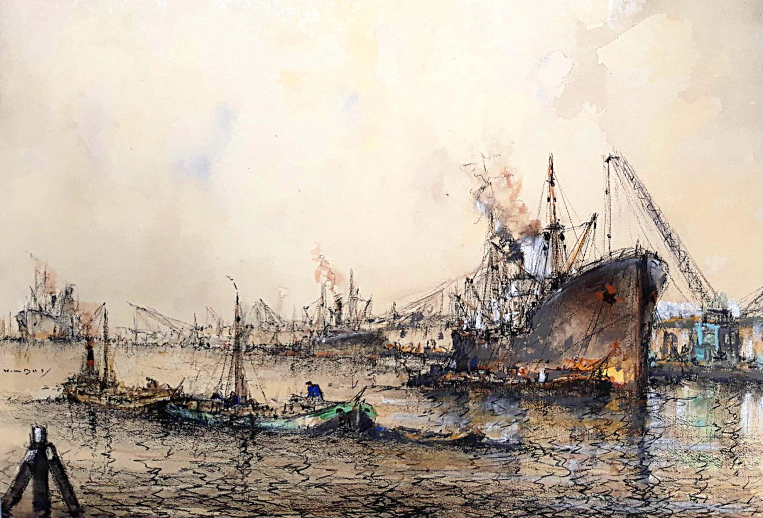 Willem Bos - Overslag in de haven, gemengde techniek (mooi ingelijst, groot) kopen? Bied vanaf 250!