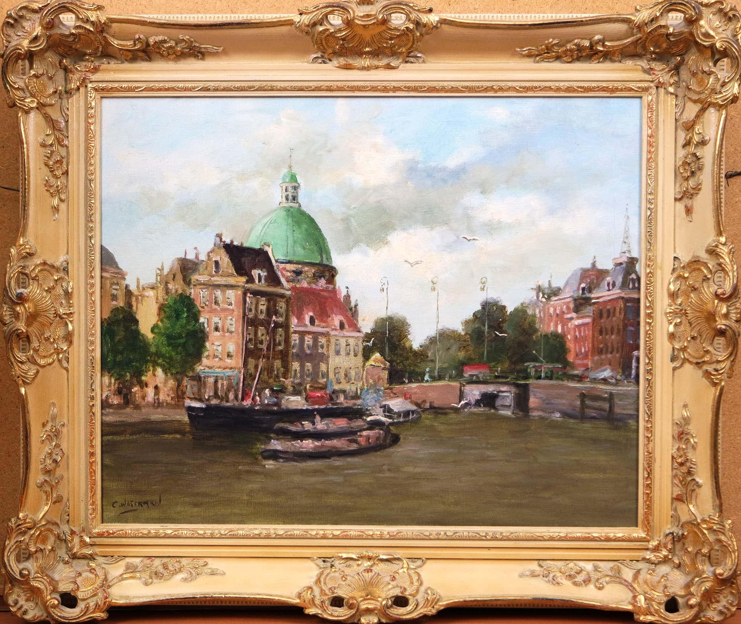 Cornelis Waterman - olieverf op doek - stadsgezicht Amsterdam kopen? Bied vanaf 155!
