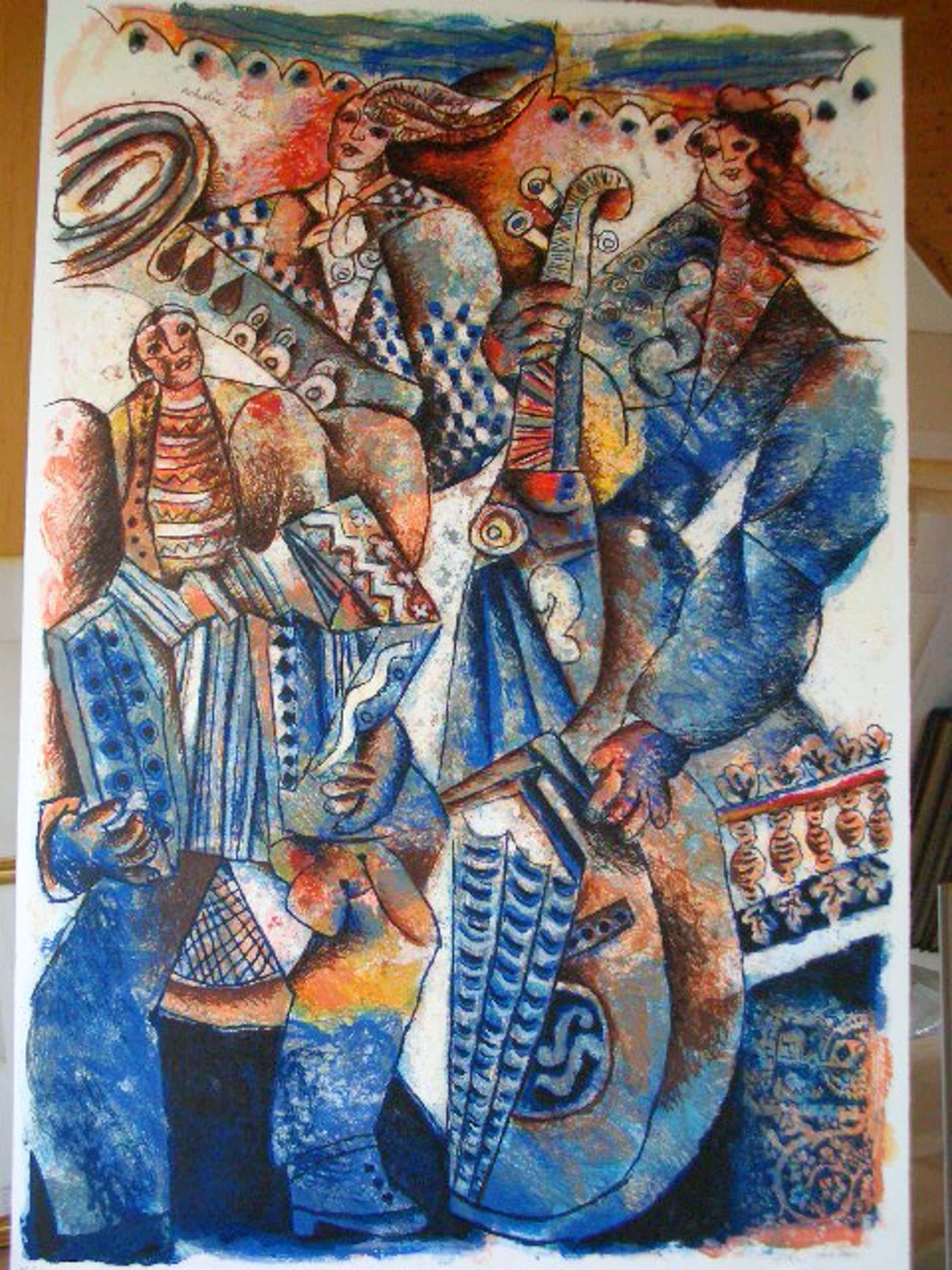 Theo Tobiasse - Orchestre Bleu. Lithografie kopen? Bied vanaf 430!