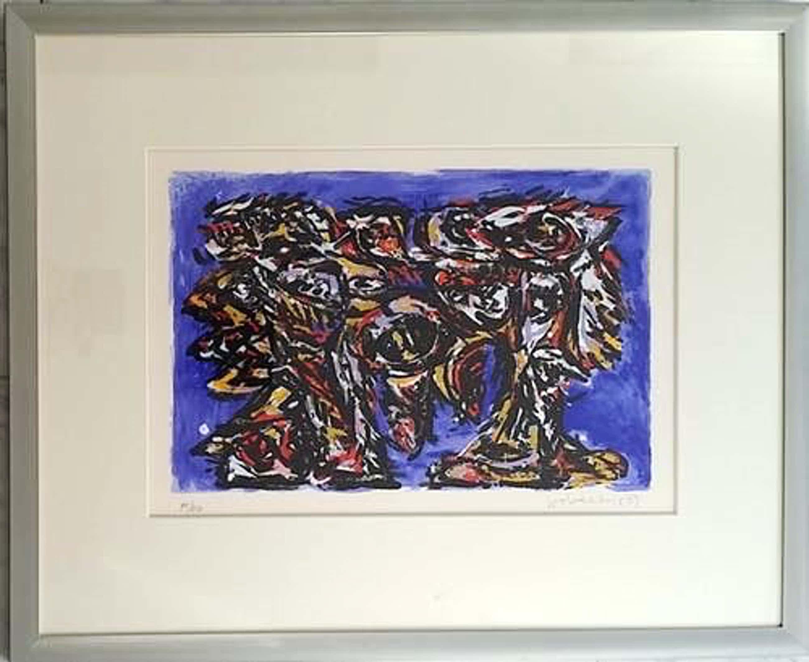 Theo Wolvecamp - Zeefdruk. Abstracte compositie. kopen? Bied vanaf 200!
