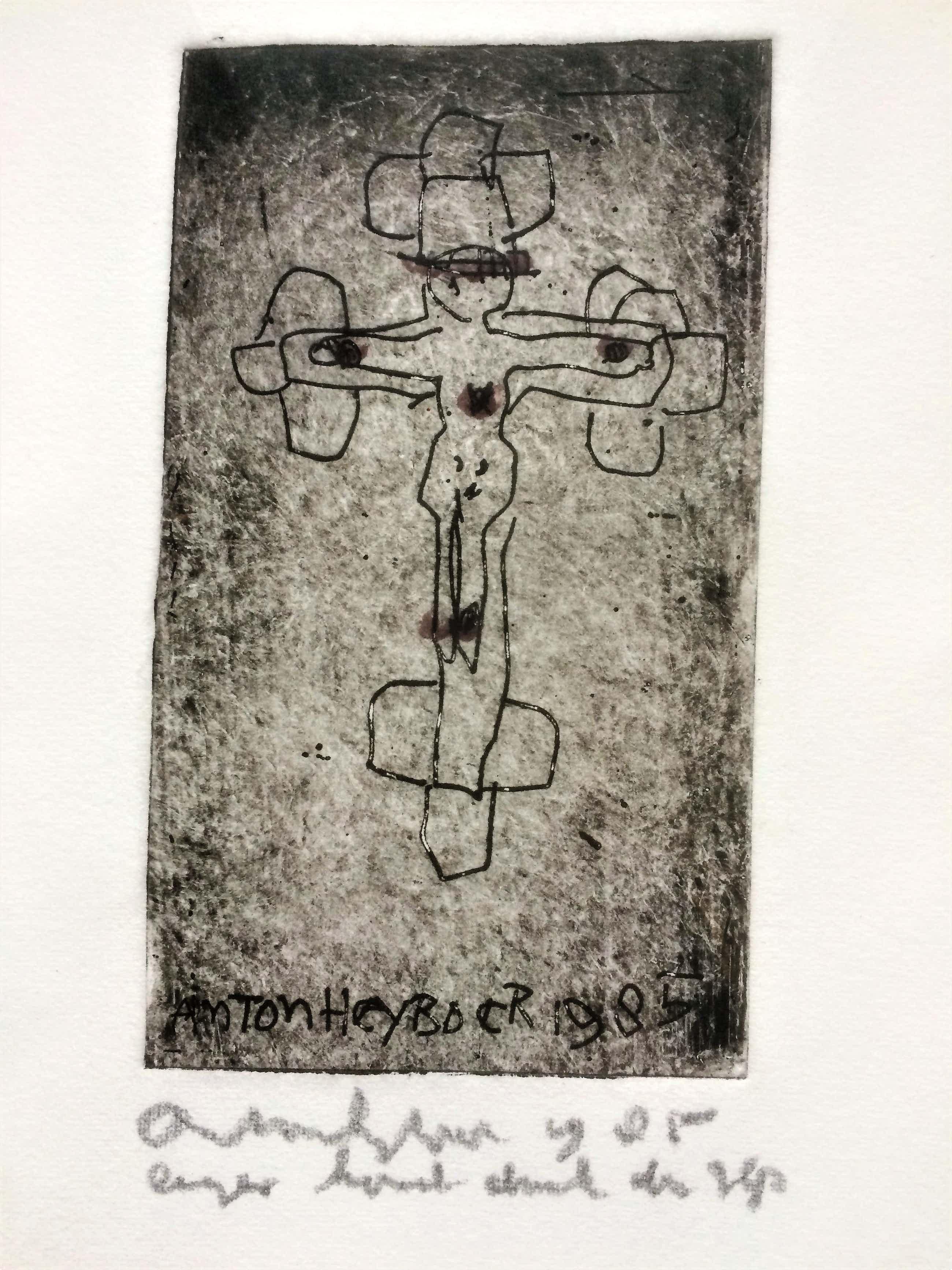"""Anton Heyboer - Handgekleurde ets """"Crucifix"""" 1985 kopen? Bied vanaf 225!"""