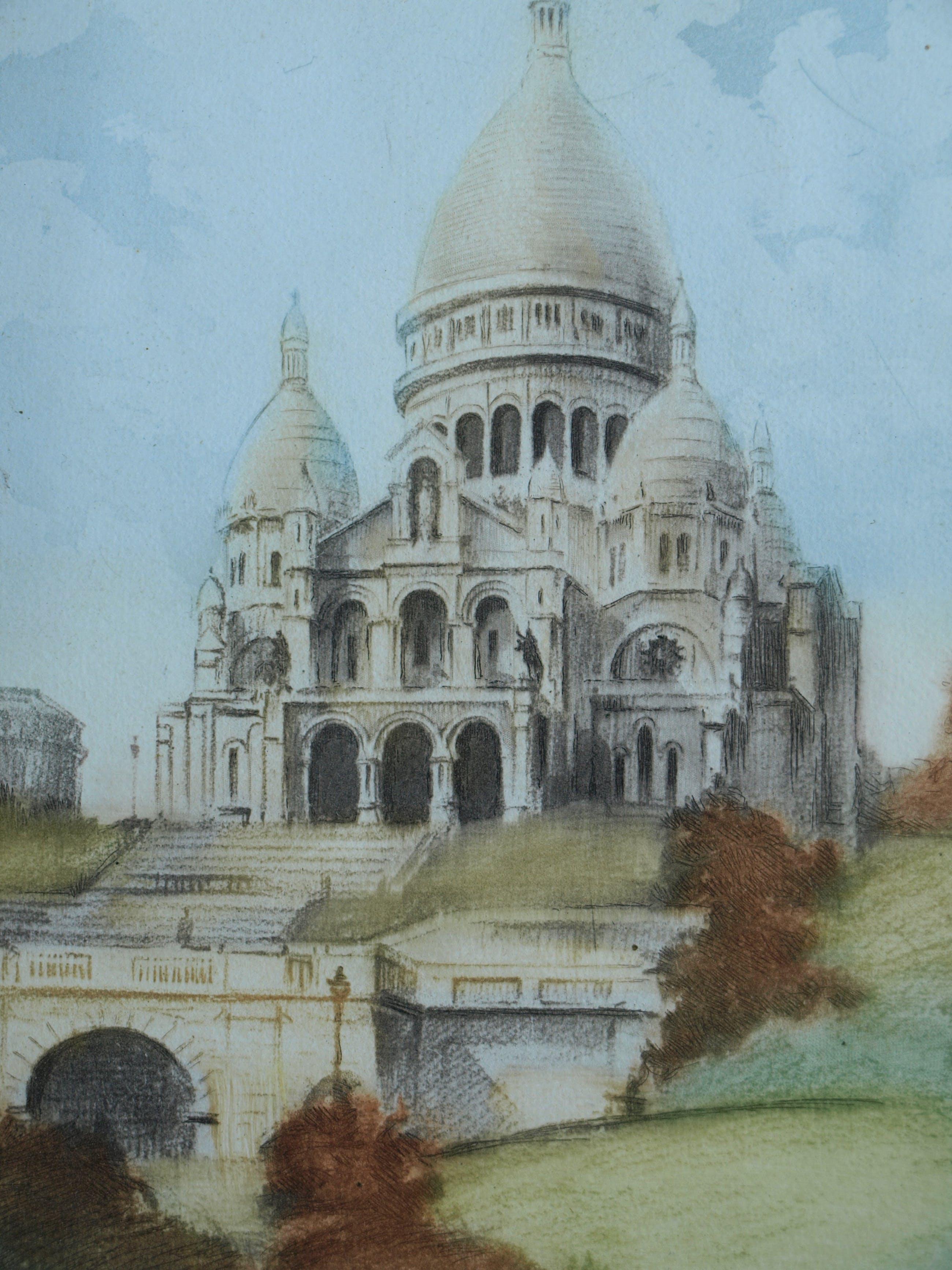 """Niet of onleesbaar gesigneerd - Ets , """"Sacre Coeur, Parijs"""" – gesigneerd kopen? Bied vanaf 10!"""