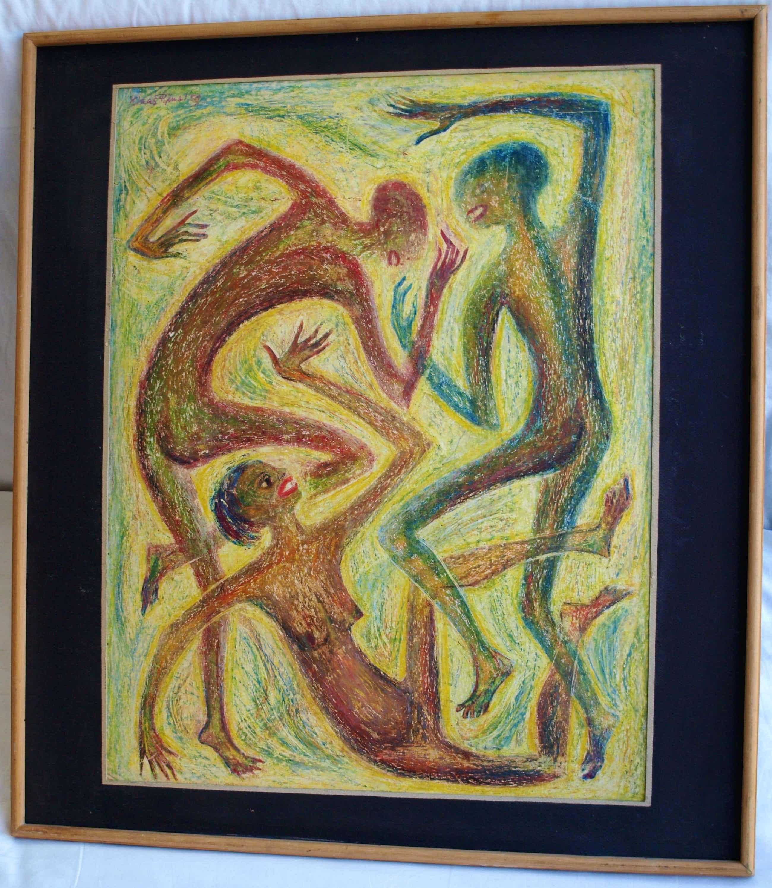 """Klaas Pijlman - Pastelkrijt , """"Dansende figuren"""" – 1959 - ingelijst , 75 x 67 cm kopen? Bied vanaf 40!"""