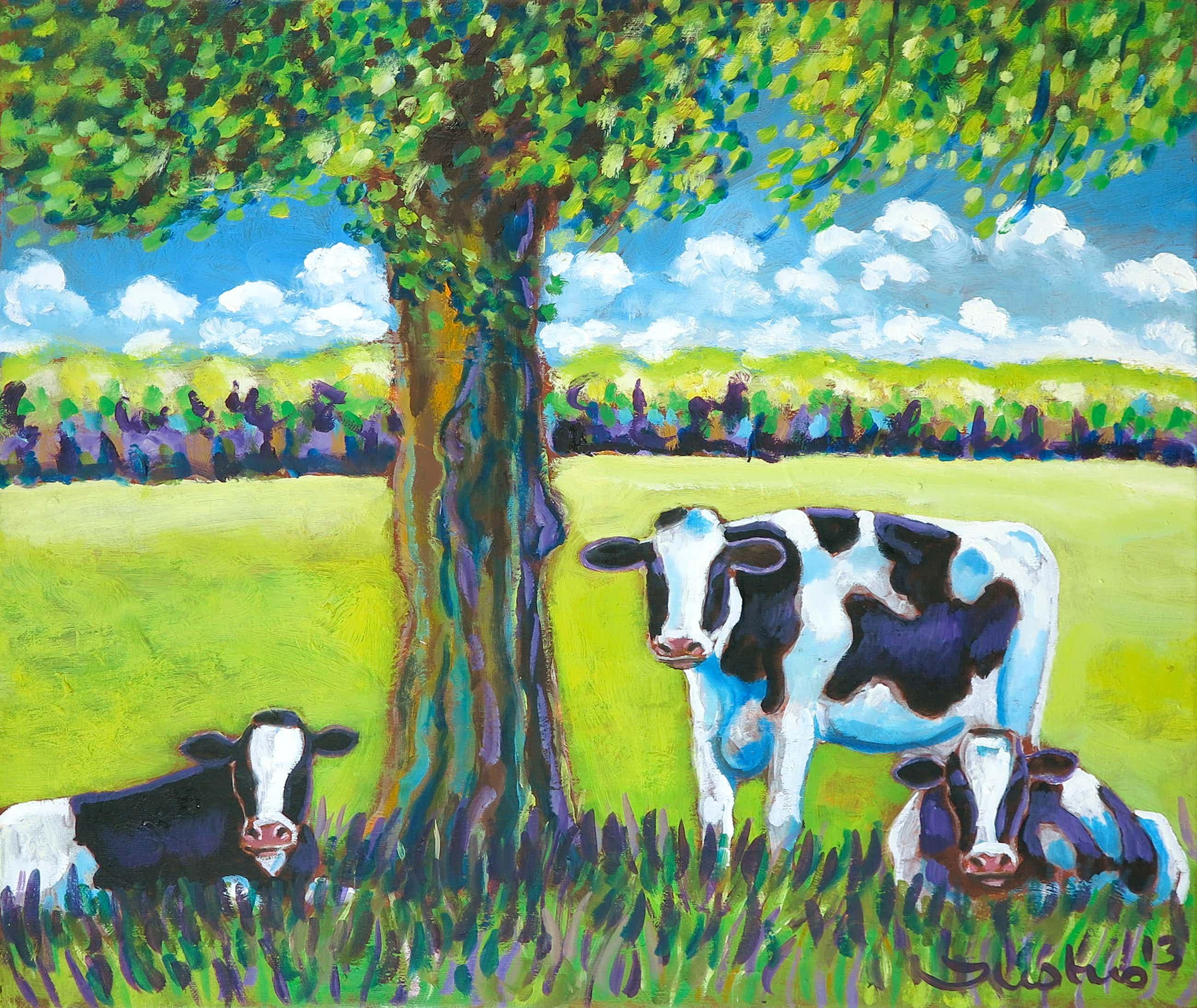 Justus Donker - Acryl op doek, Landschap met drie koeien kopen? Bied vanaf 170!