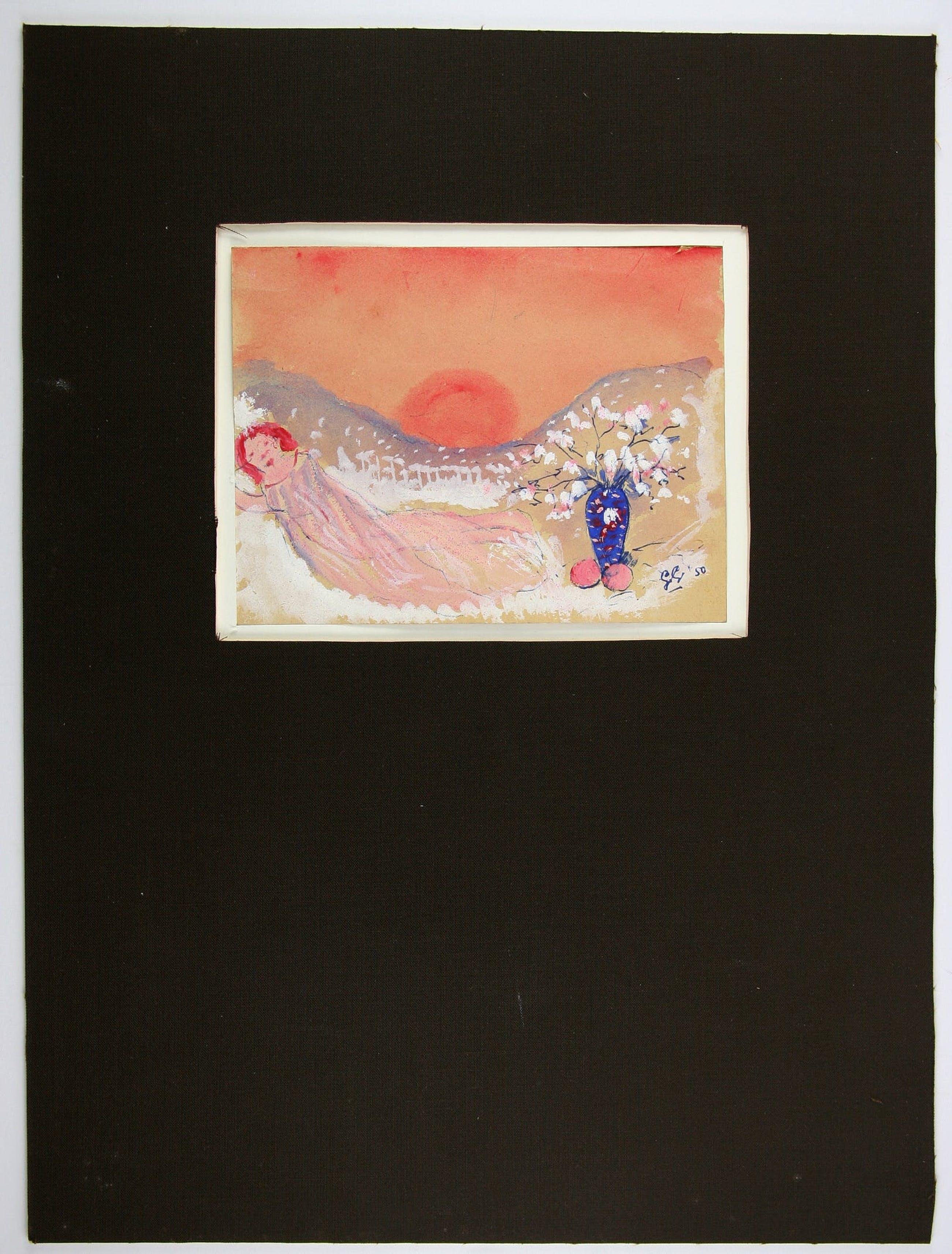 "Gerard Grassere - ""Droomland"" slapend meisje met bloemvaas en zonsopgang. 1950. kopen? Bied vanaf 20!"