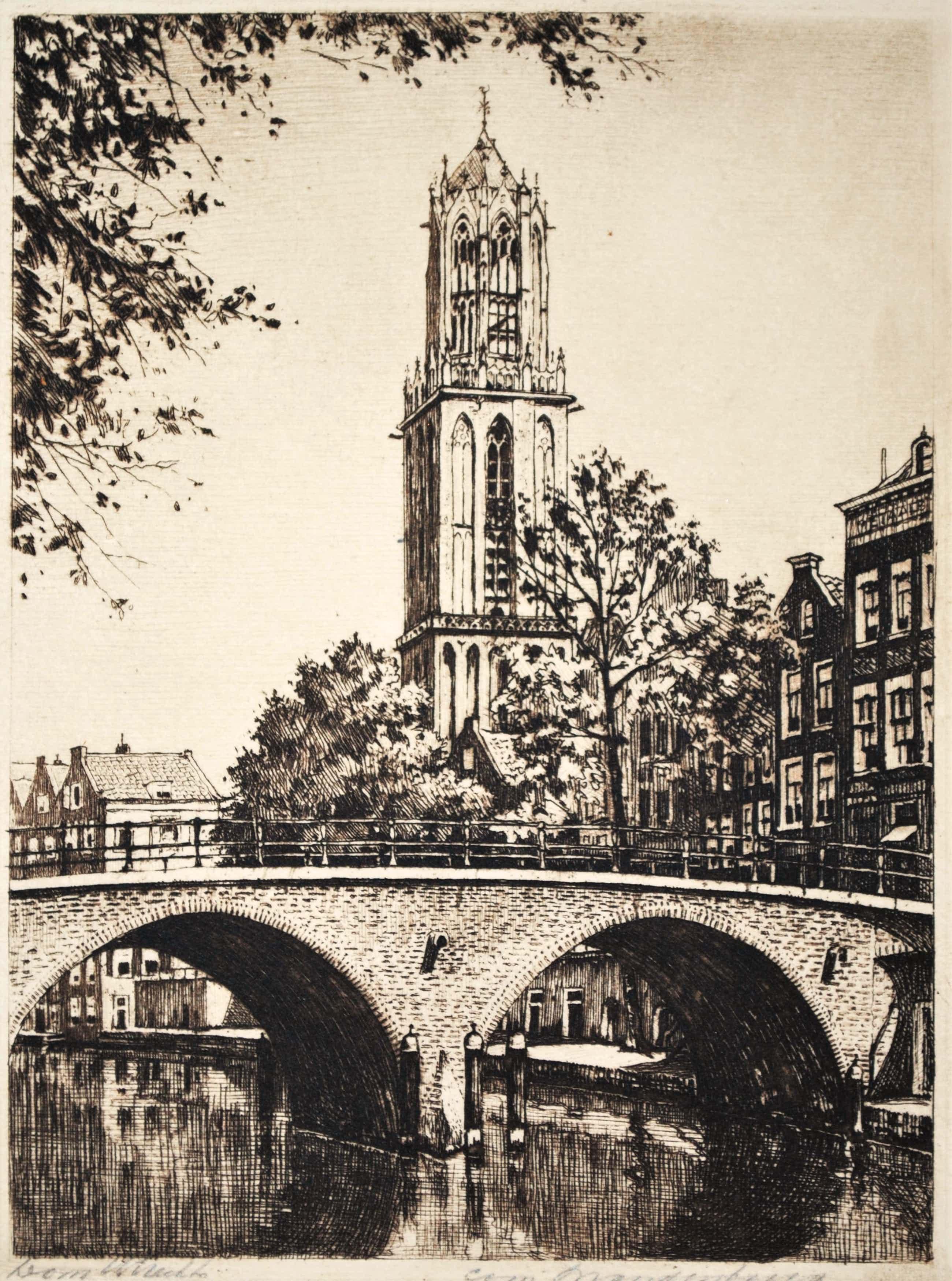 Cornelis Brandenburg - De Dom met de Oudegracht, Utrecht - ingelijste, heldere, schone ets kopen? Bied vanaf 40!