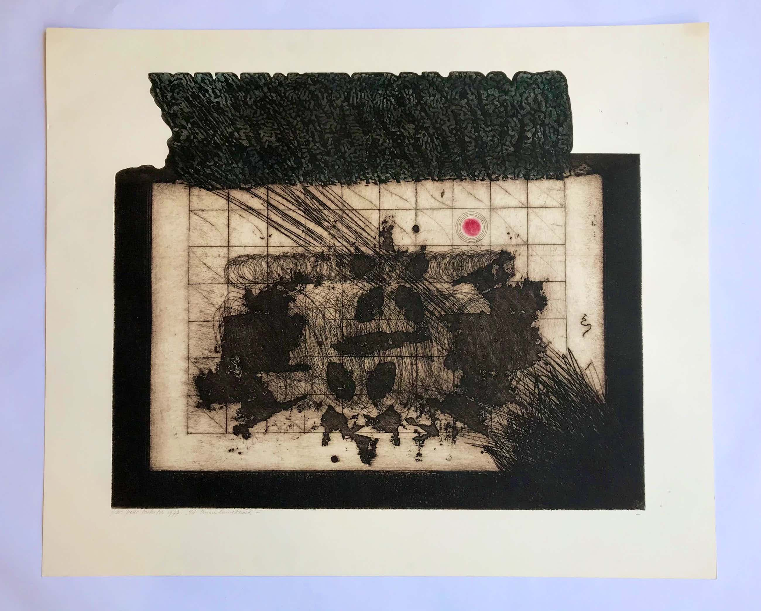 Peter Oosterbos - v/d bruine landkaart - oplage 6/25 - handgesigneerd - 1977 kopen? Bied vanaf 42!