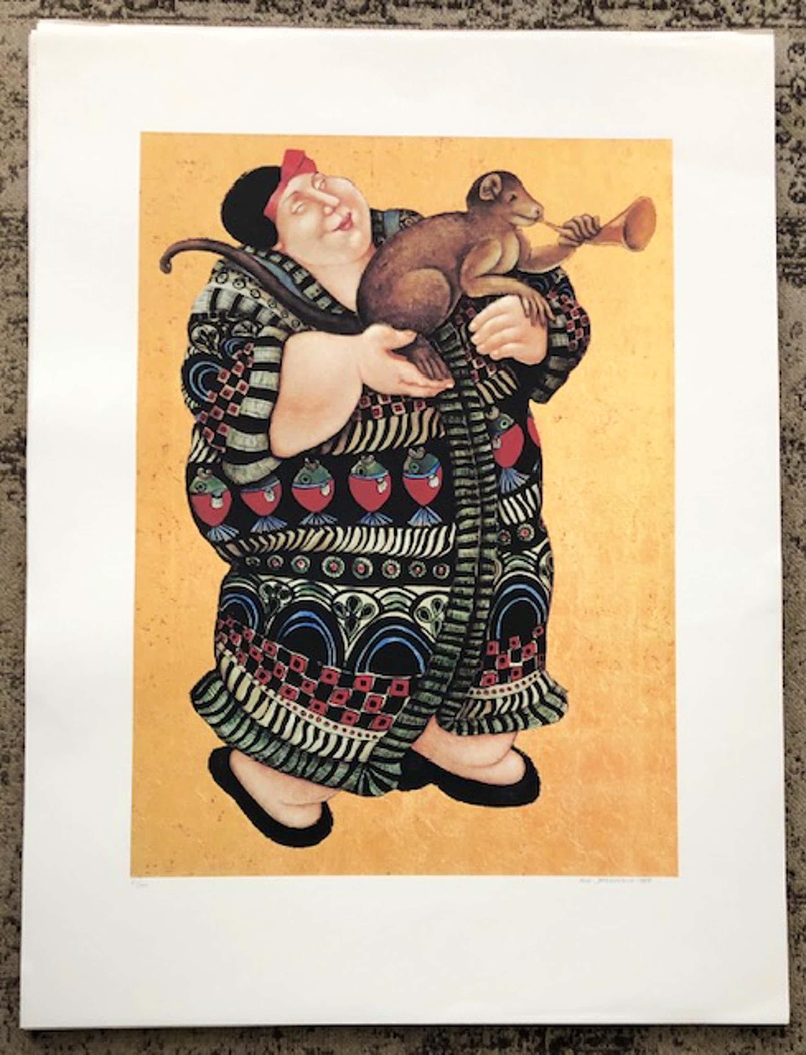Ada Breedveld - Zeefdruk. z.t. (Dame in kimono met aap) kopen? Bied vanaf 35!