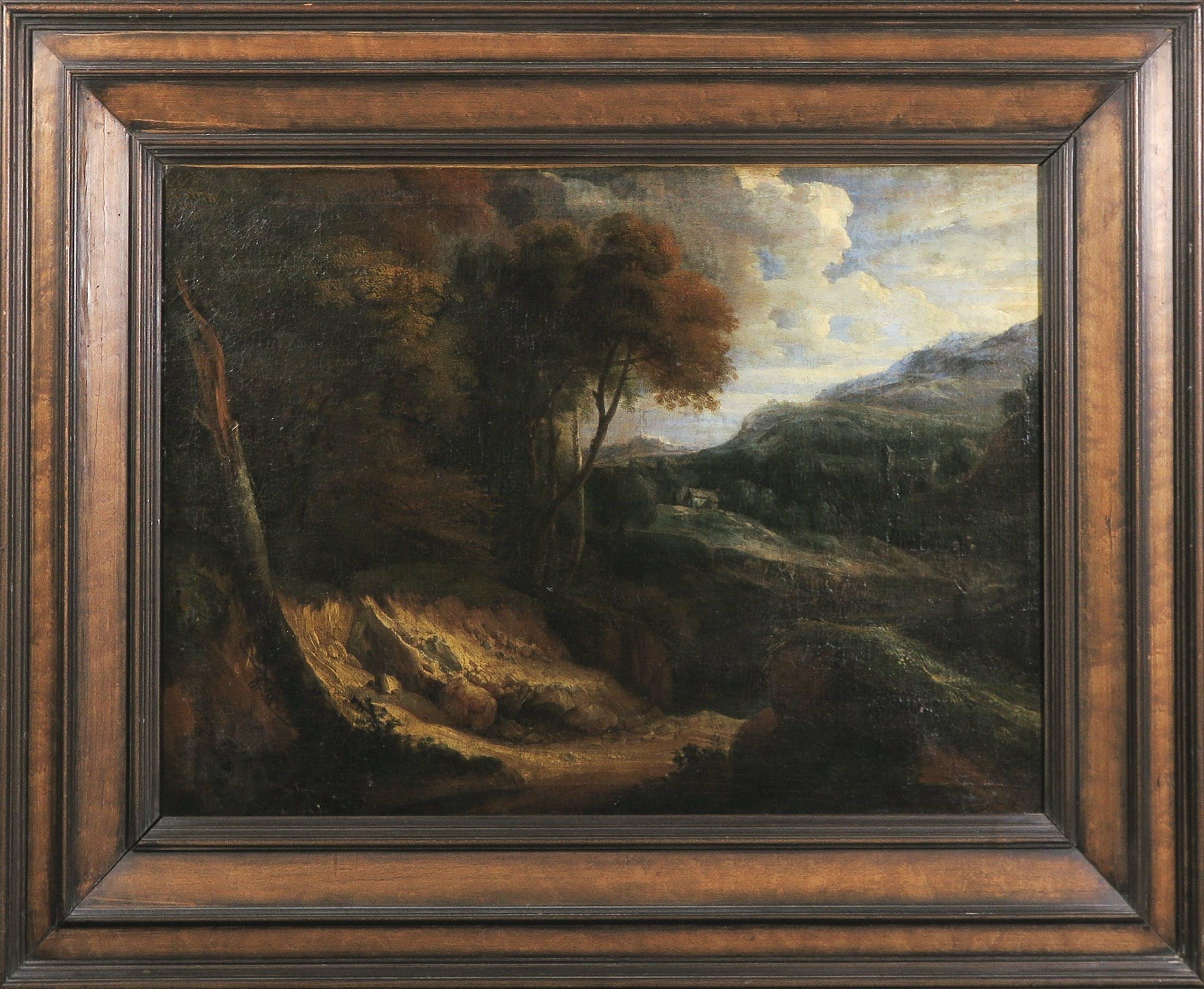 Cornelis Huysmans - 17e eeuw - Olieverf op doek - Heuvellandschap met droogstaande rivierbedding - Ingelijst kopen? Bied vanaf 800!
