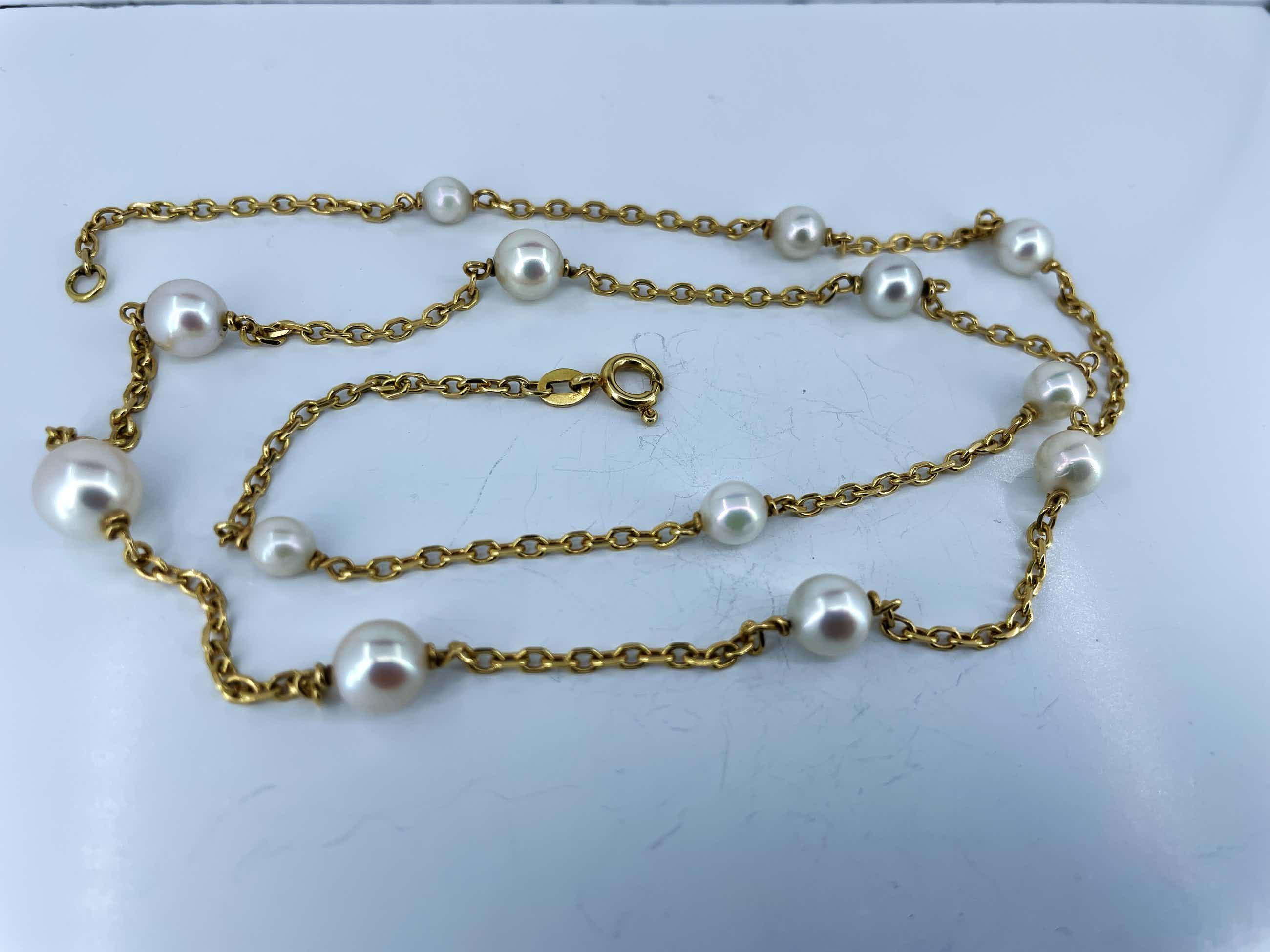 18kt gouden halsketting met cultivéparels, 54,5 lang en 10,16 gram kopen? Bied vanaf 288!