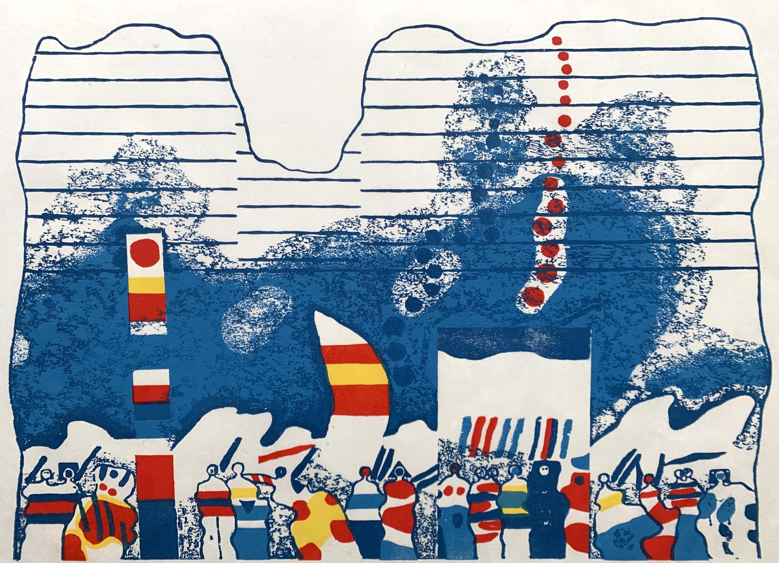 Jef Diederen - kleurenhoutsnede op rijstpapier - 'Blauw - 14 IX '74' - 1974 kopen? Bied vanaf 100!