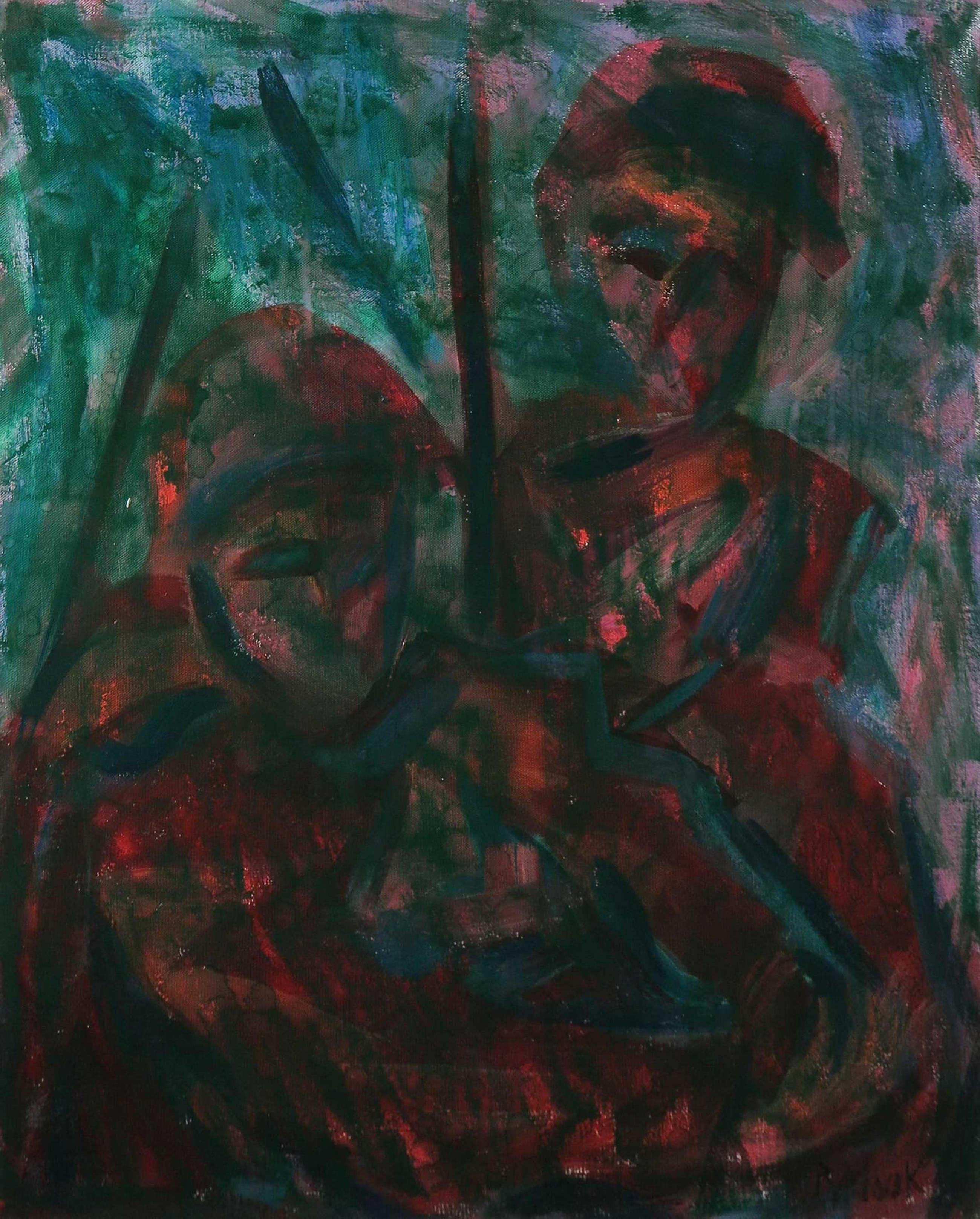 Piet van Mook - Olieverf op doek, Expressief werk met figuren - Ingelijst kopen? Bied vanaf 1!