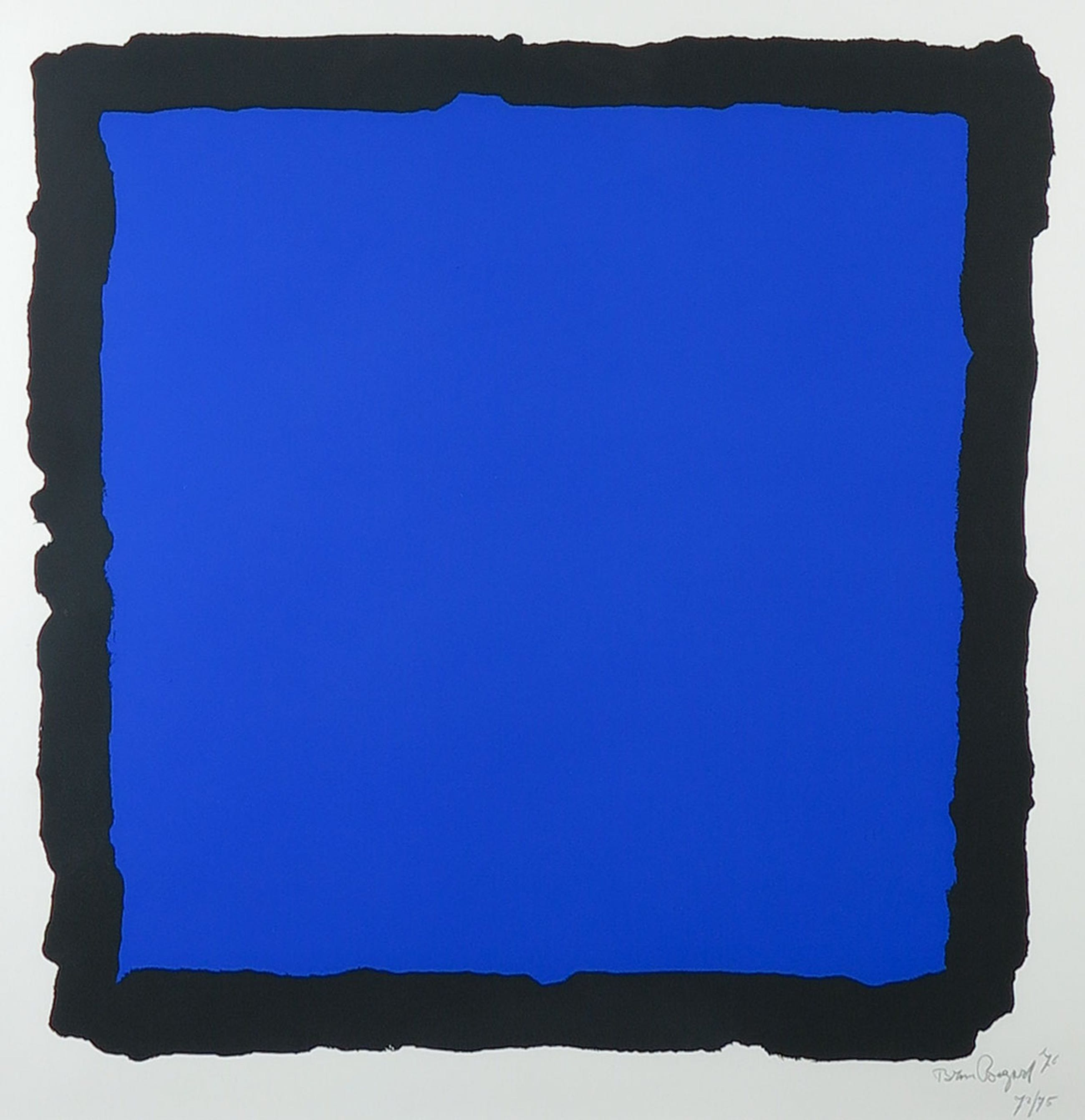 Bram Bogart - Zeefdruk, Z.T. Compositie in blauw en zwart - Ingelijst kopen? Bied vanaf 1!