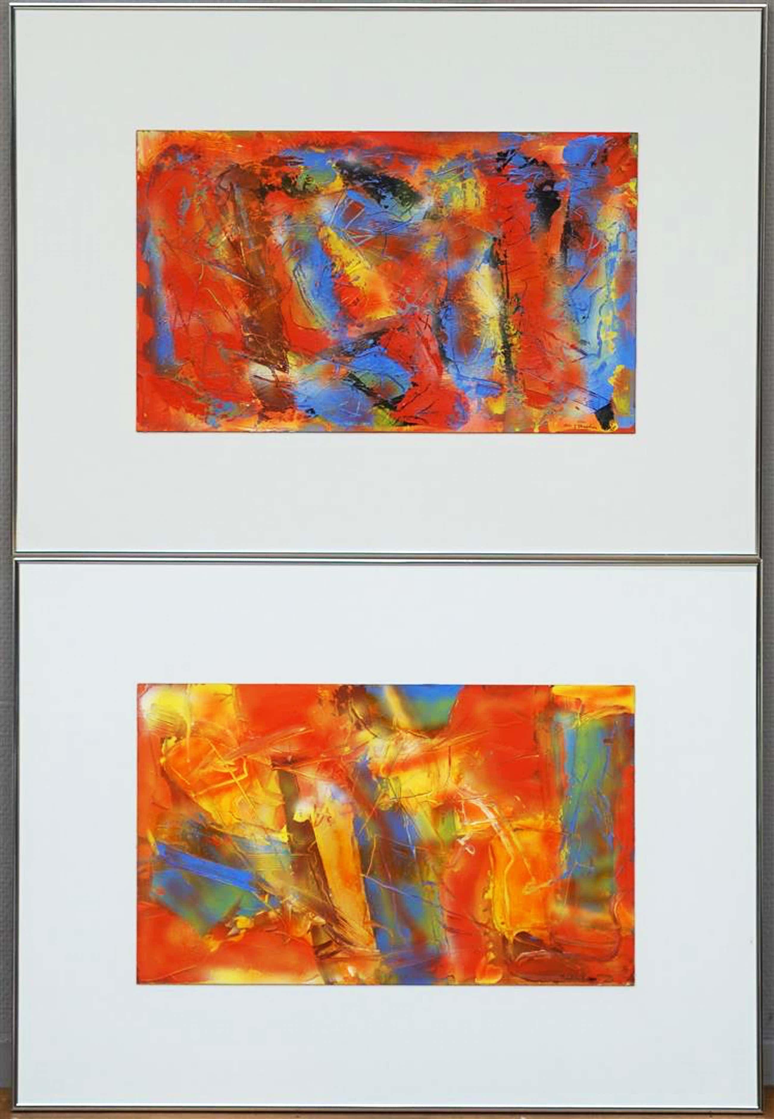 Jan Verschoor - twee werken (pendant) - acryl op board - 1990 - laatste x! kopen? Bied vanaf 150!