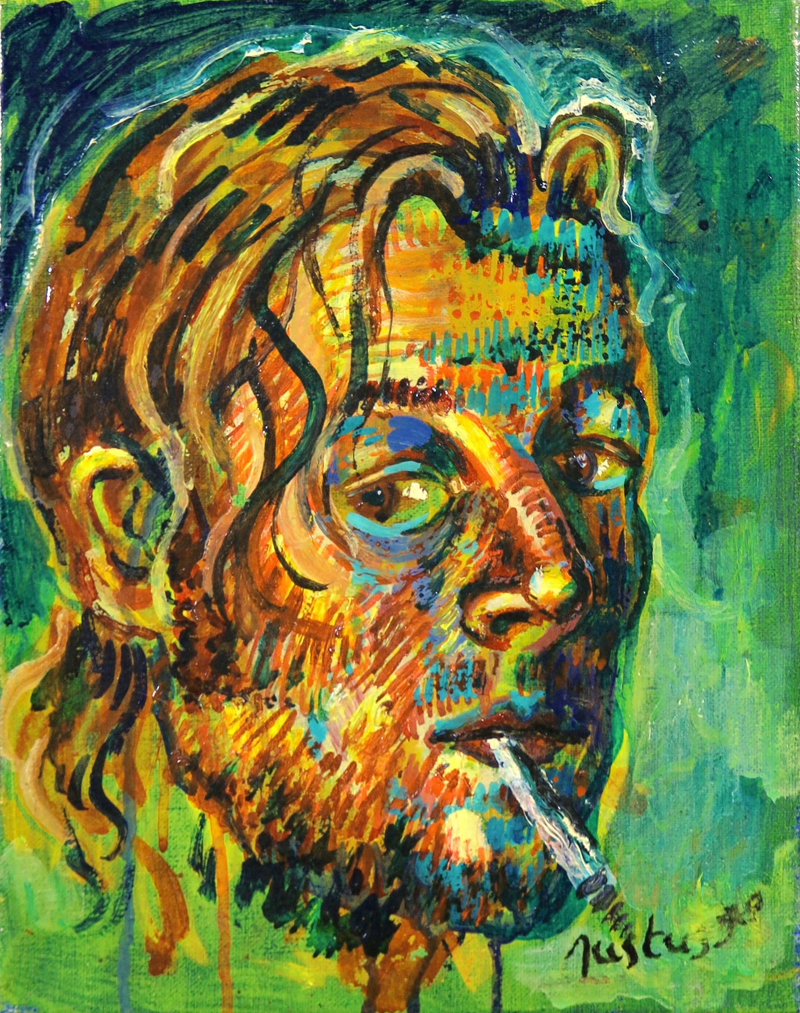Justus Donker - Olieverf op doek, Zelfportret met sigaret kopen? Bied vanaf 100!