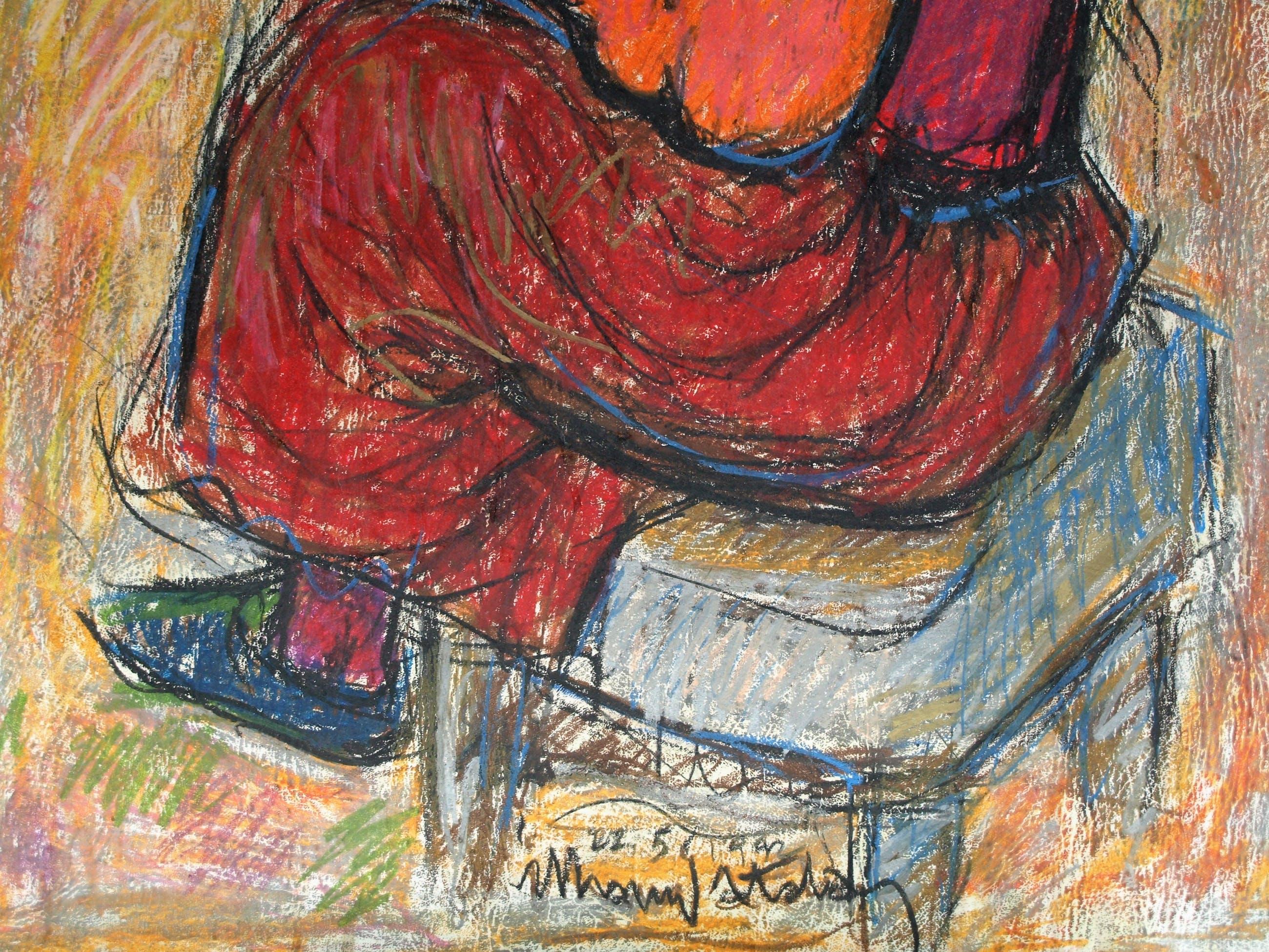 "Muhammed Bilgehan Atalay - Pastel , ""Vrouw op stoel"" – Groot - 1992 kopen? Bied vanaf 1!"