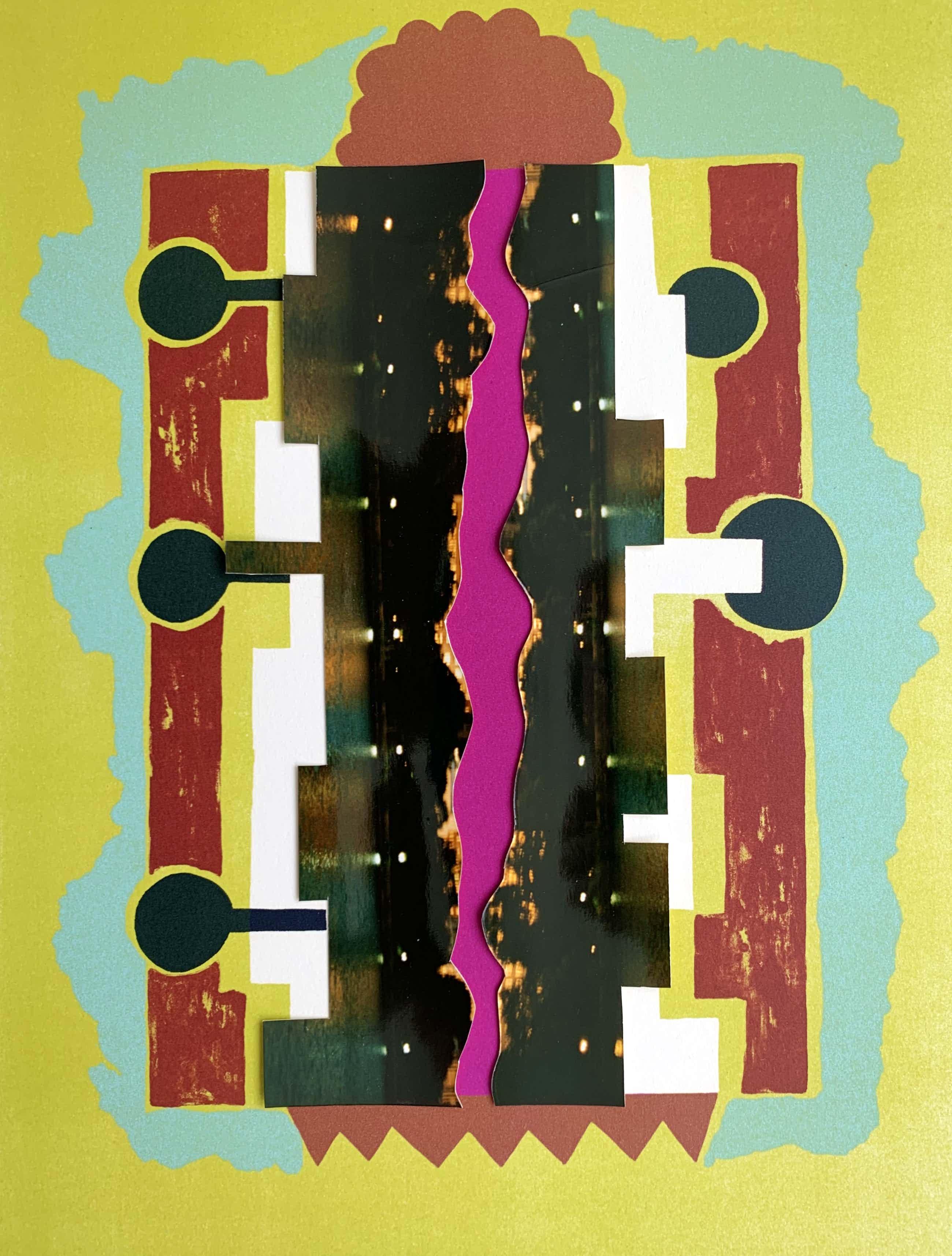 Herman van den Boom - Zeefdruk met collage op papier   'Bubbles at Fannelli's bar' kopen? Bied vanaf 75!