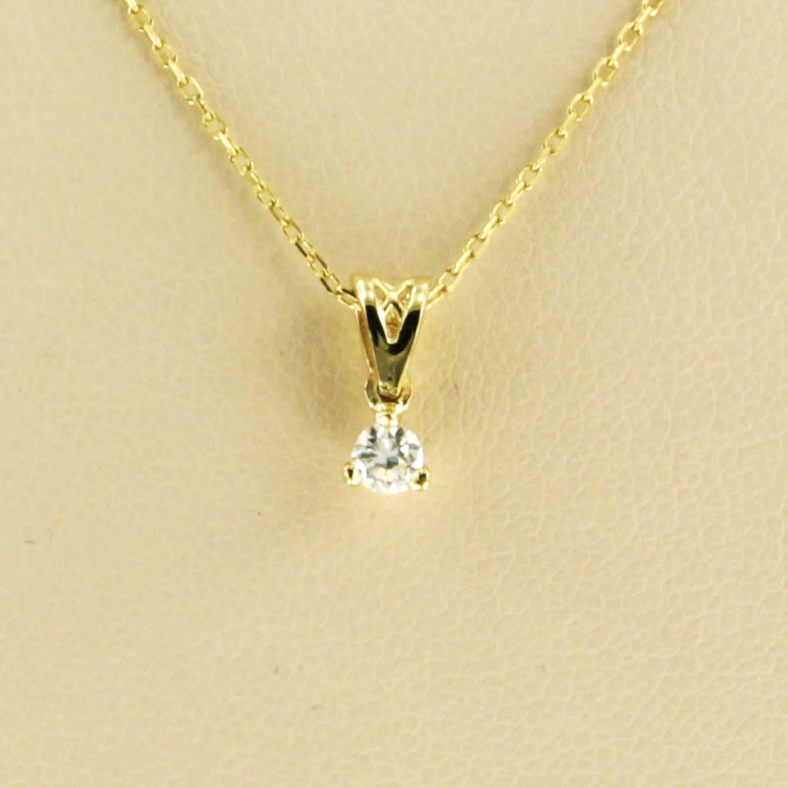 14k collier met solitair hanger bezet met briljant geslepen diamant 0,10ct kopen? Bied vanaf 170!
