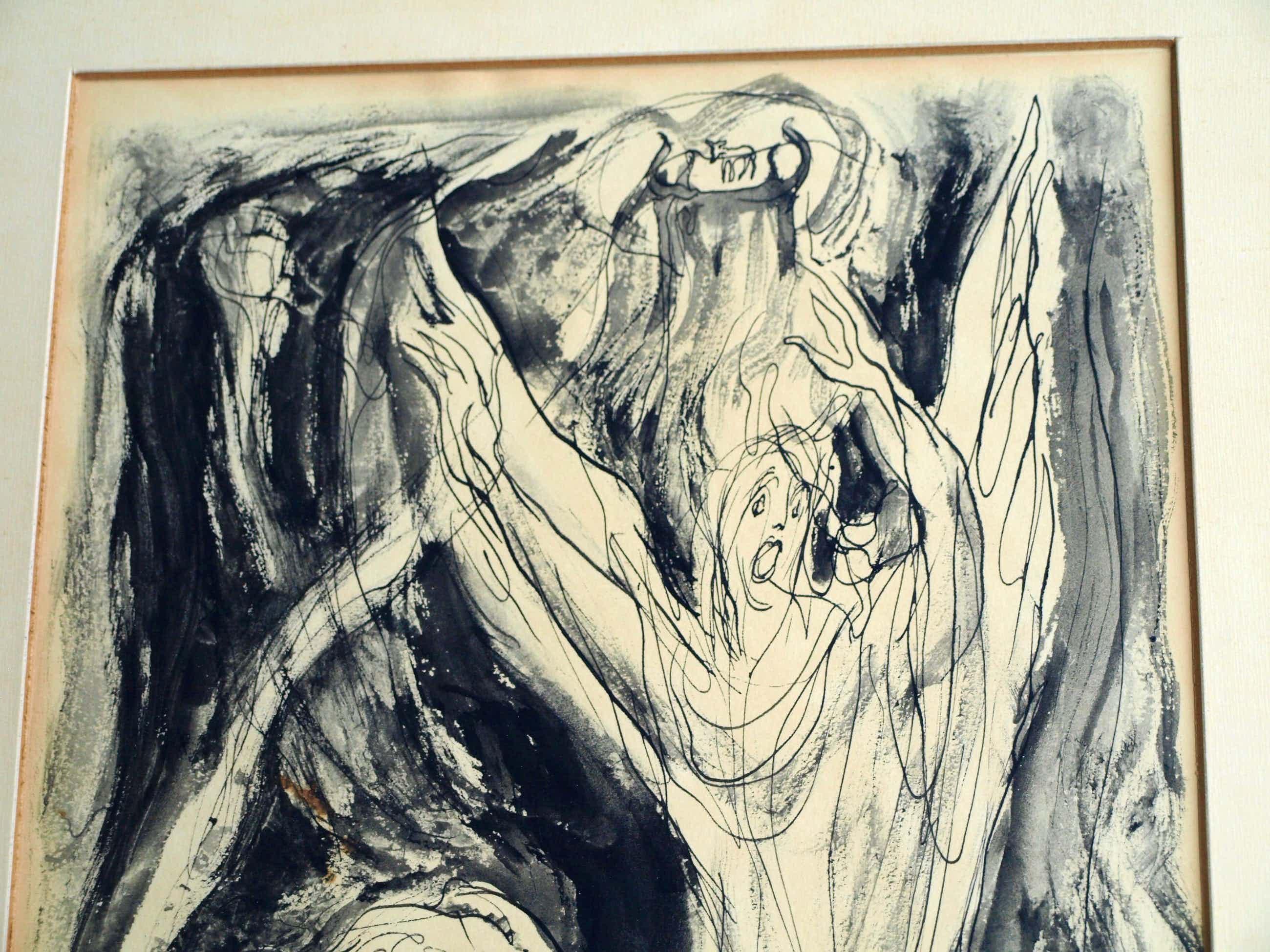 """Klaas Pijlman - Inkt en gewassen inkt , """"Openbaring van Johannes"""" - ingelijst – 1955 kopen? Bied vanaf 35!"""