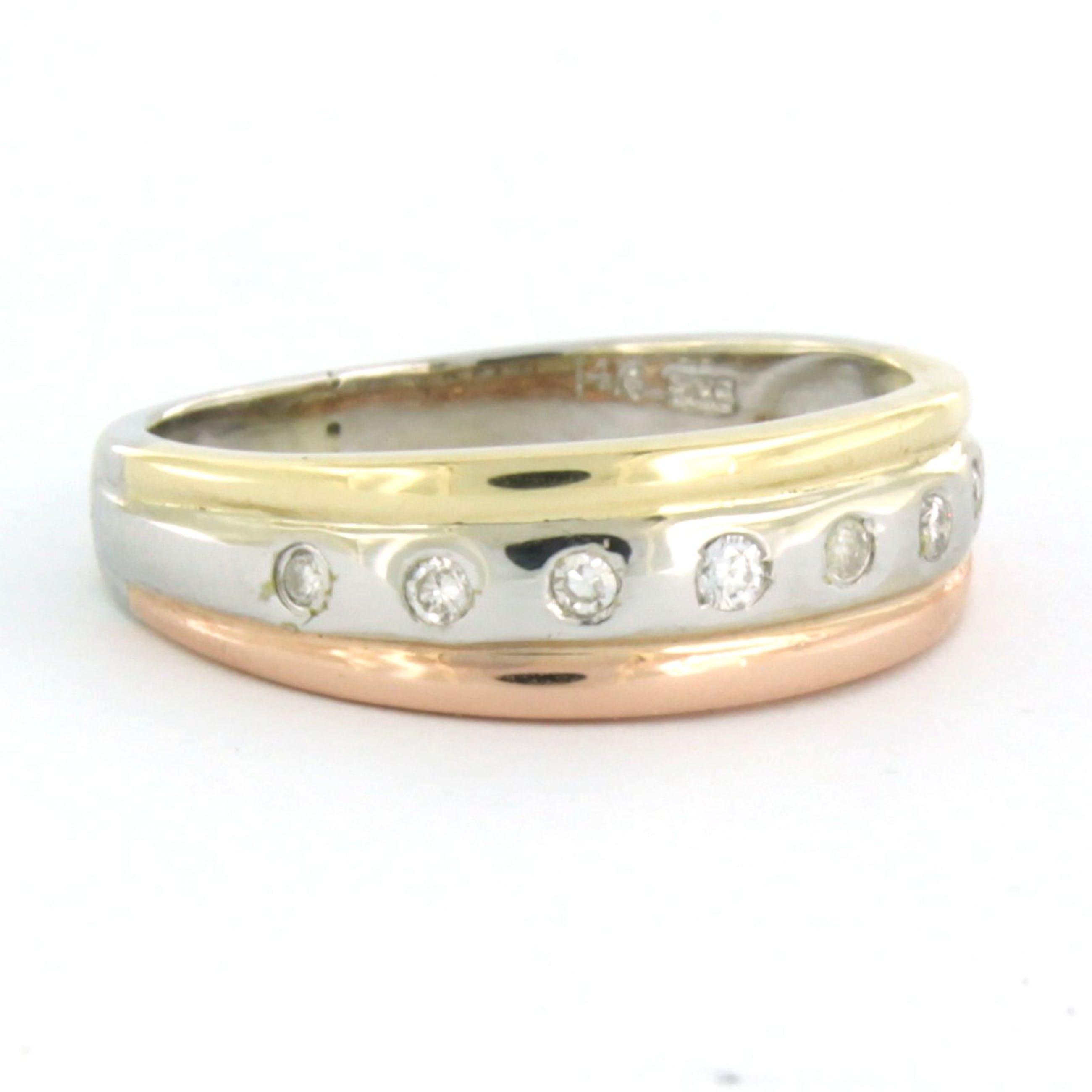 14k tricolour gouden ring bezet met briljant en single cut geslepen diamant kopen? Bied vanaf 140!