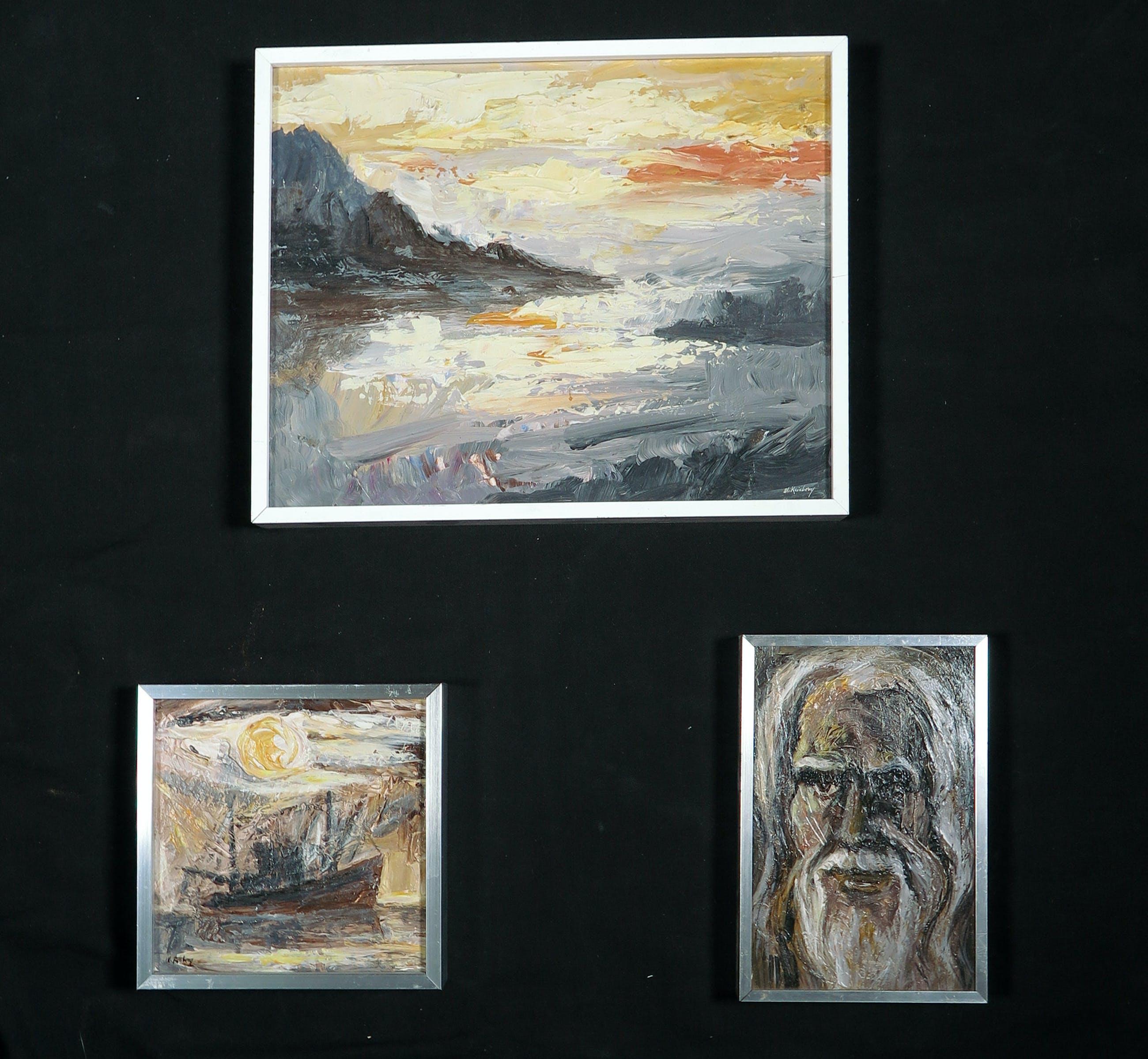 Martin Reisberg - Lot van drie werken, acryl op board- Ingelijst kopen? Bied vanaf 10!