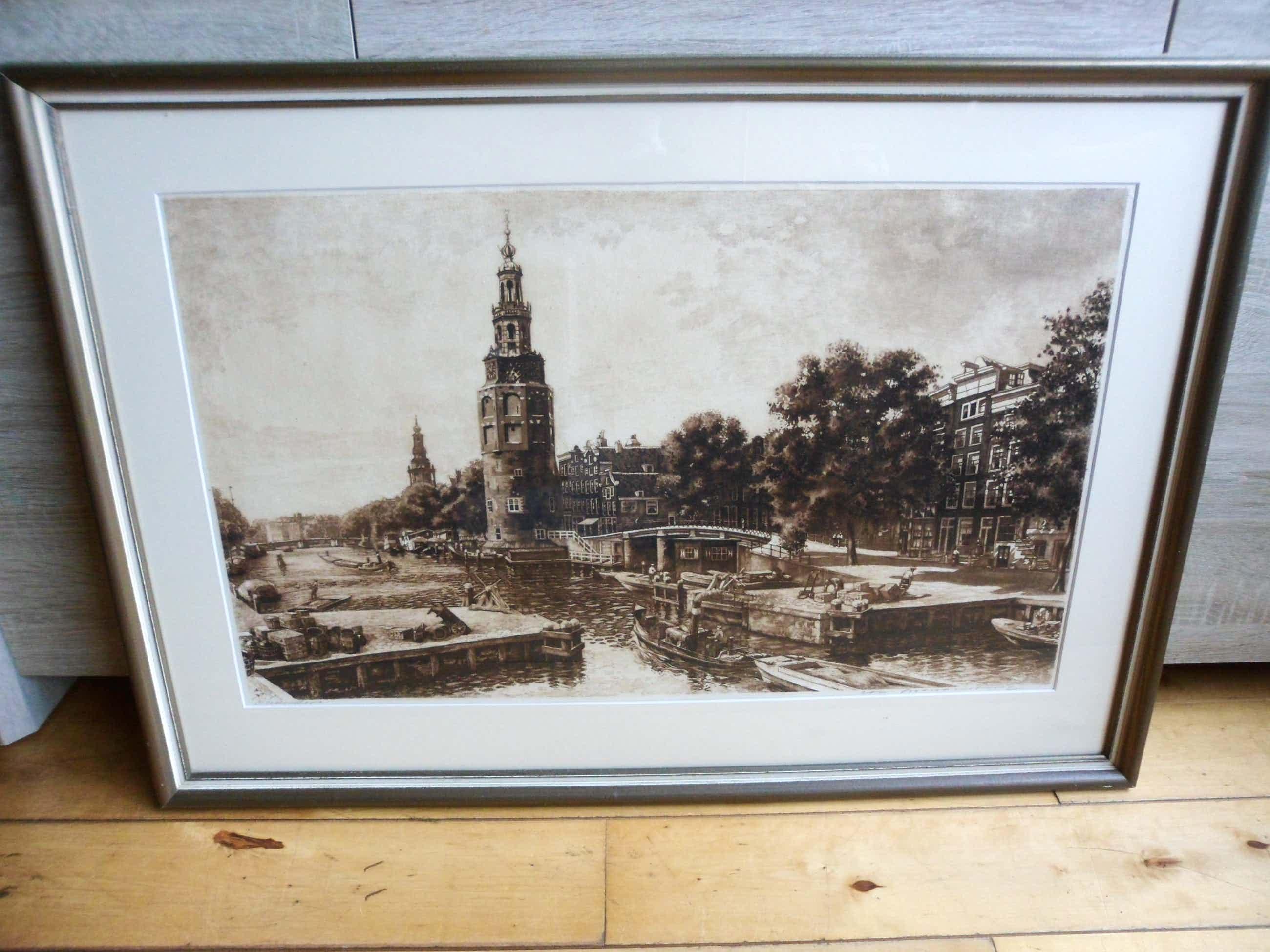 Cornelis Brandenburg - Ets - Oude Schans te Amsterdam ( Groot ) kopen? Bied vanaf 120!