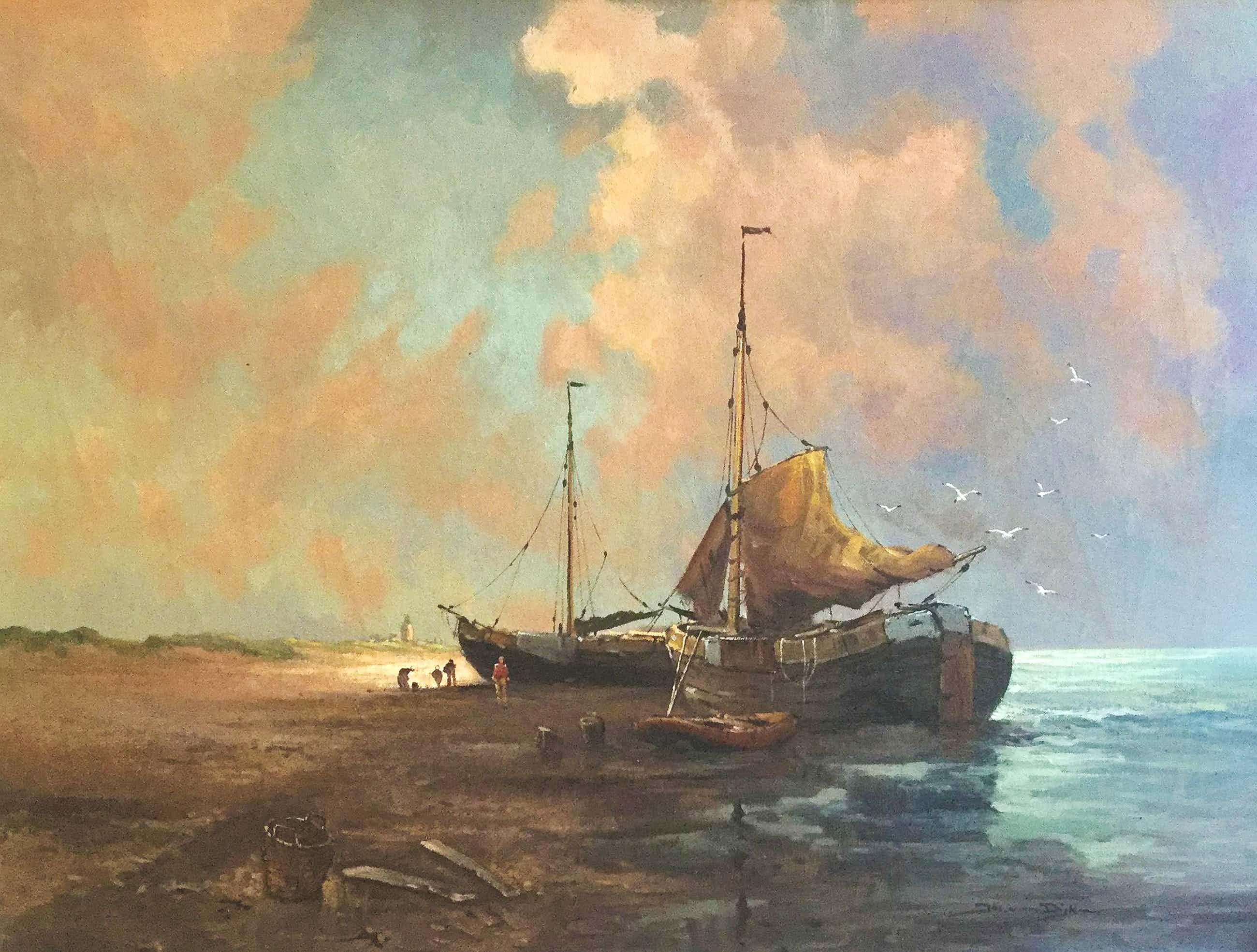 Jos van Dijk - C4656 - Vissersboten aan het strand kopen? Bied vanaf 150!