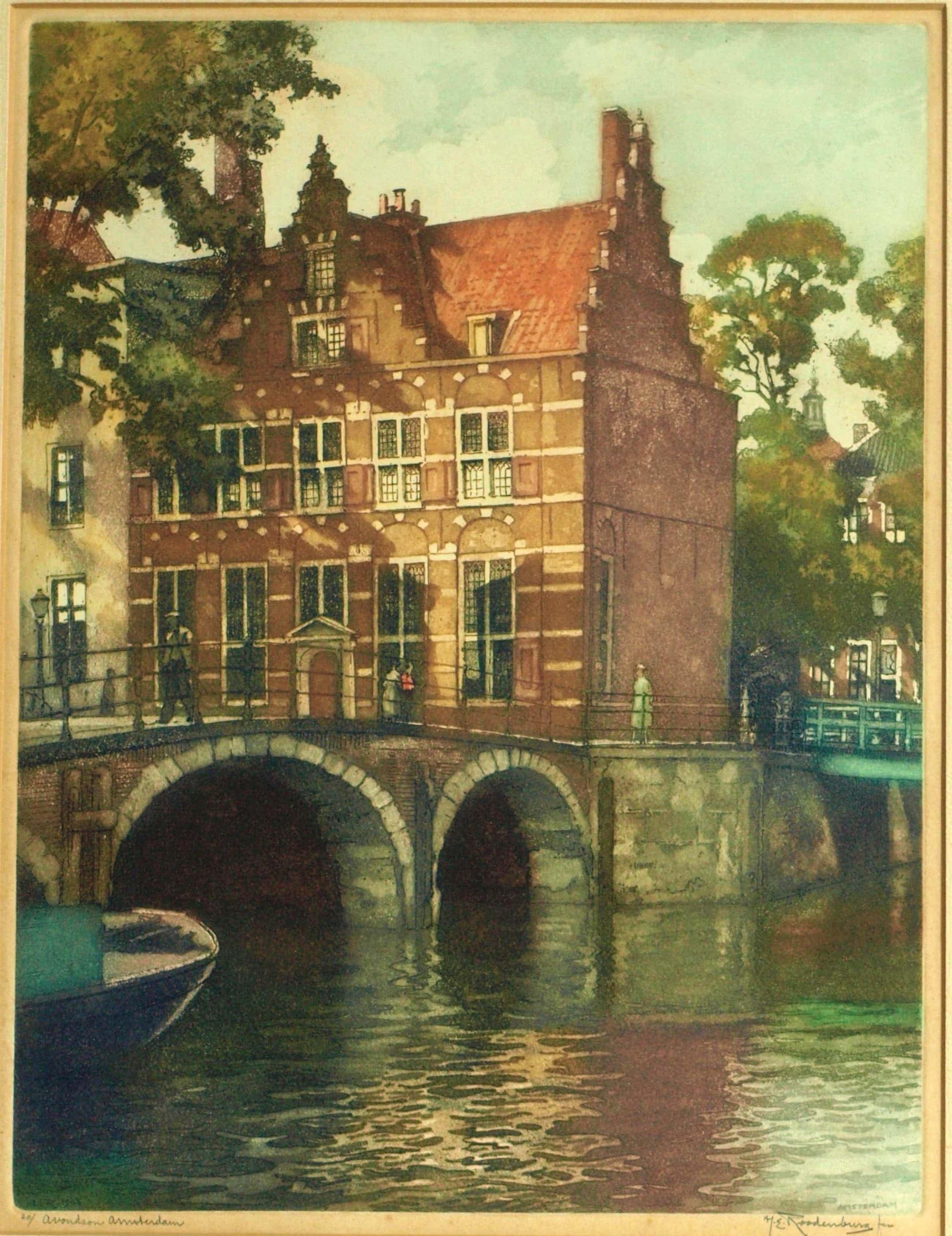 """Hendrikus Roodenburg - Ets, """"Avondzon Amsterdam"""" – ingelijst - 1948 kopen? Bied vanaf 81!"""