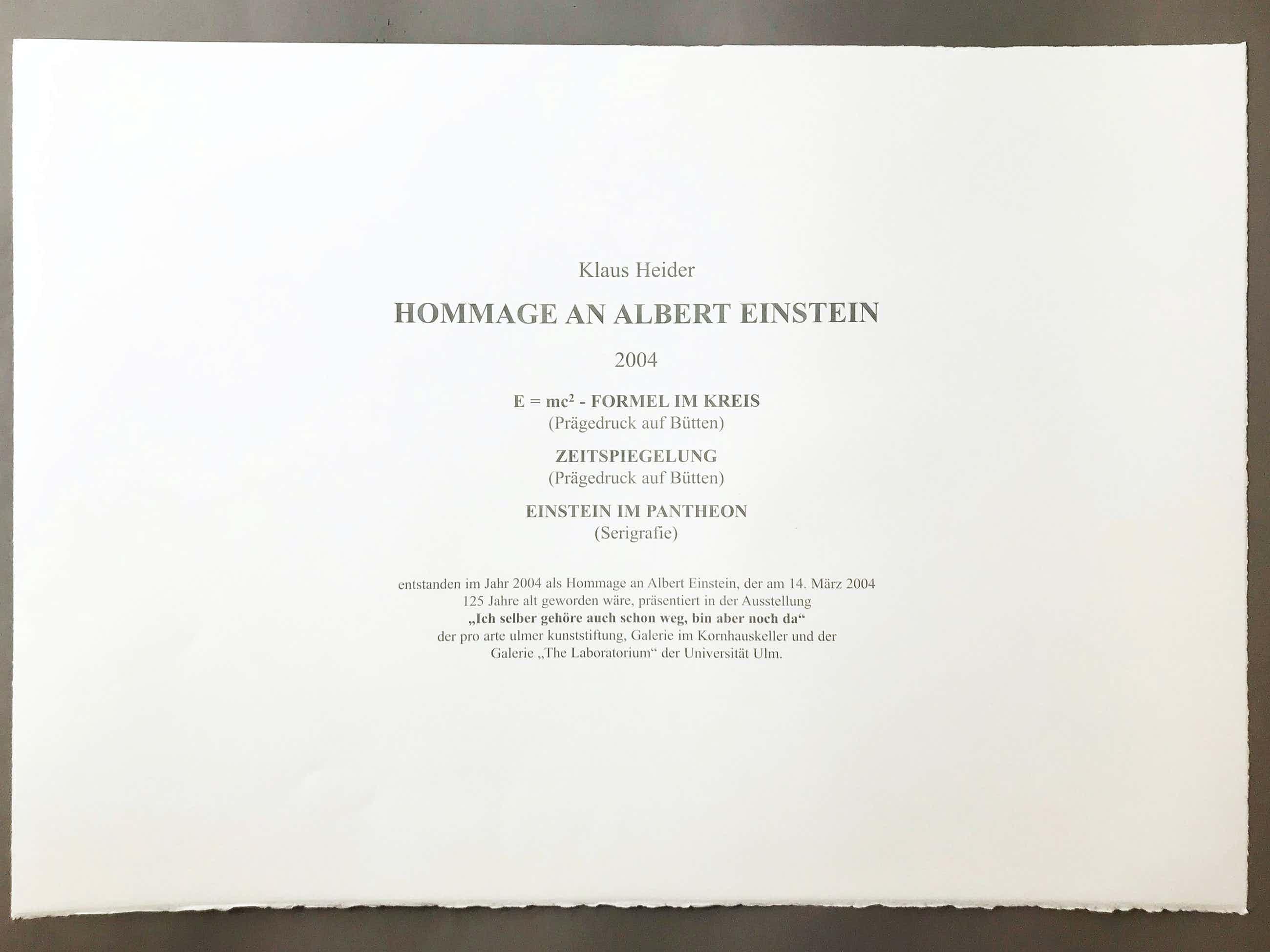 Klaus Heider - Hommage an Albert Einstein kopen? Bied vanaf 180!