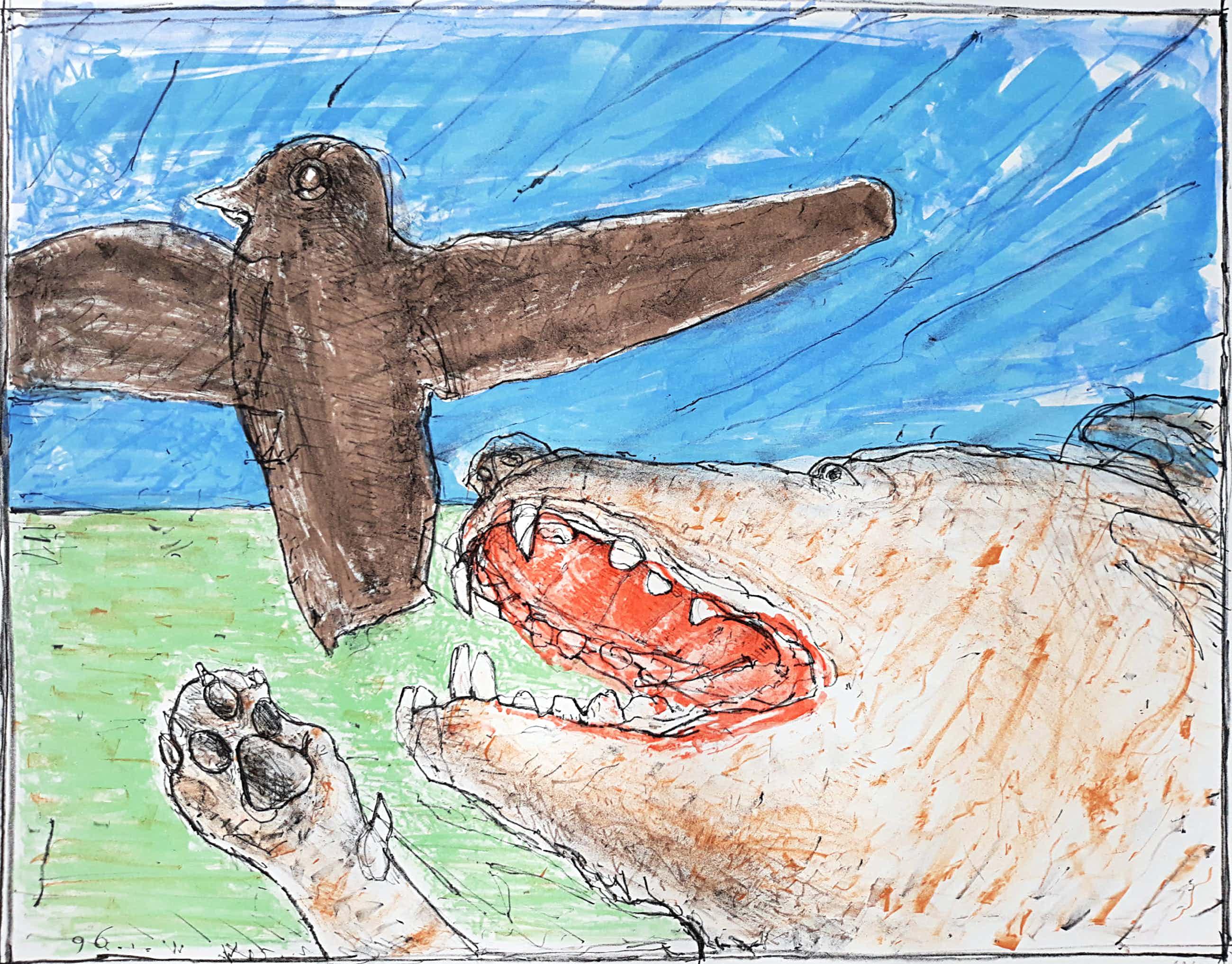 Co Westerik - Hond met vogel, litho (groot) kopen? Bied vanaf 285!