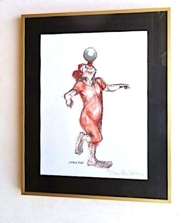 Kees Verkade - Clown met bal - Mooi ingelijst kopen? Bied vanaf 49!