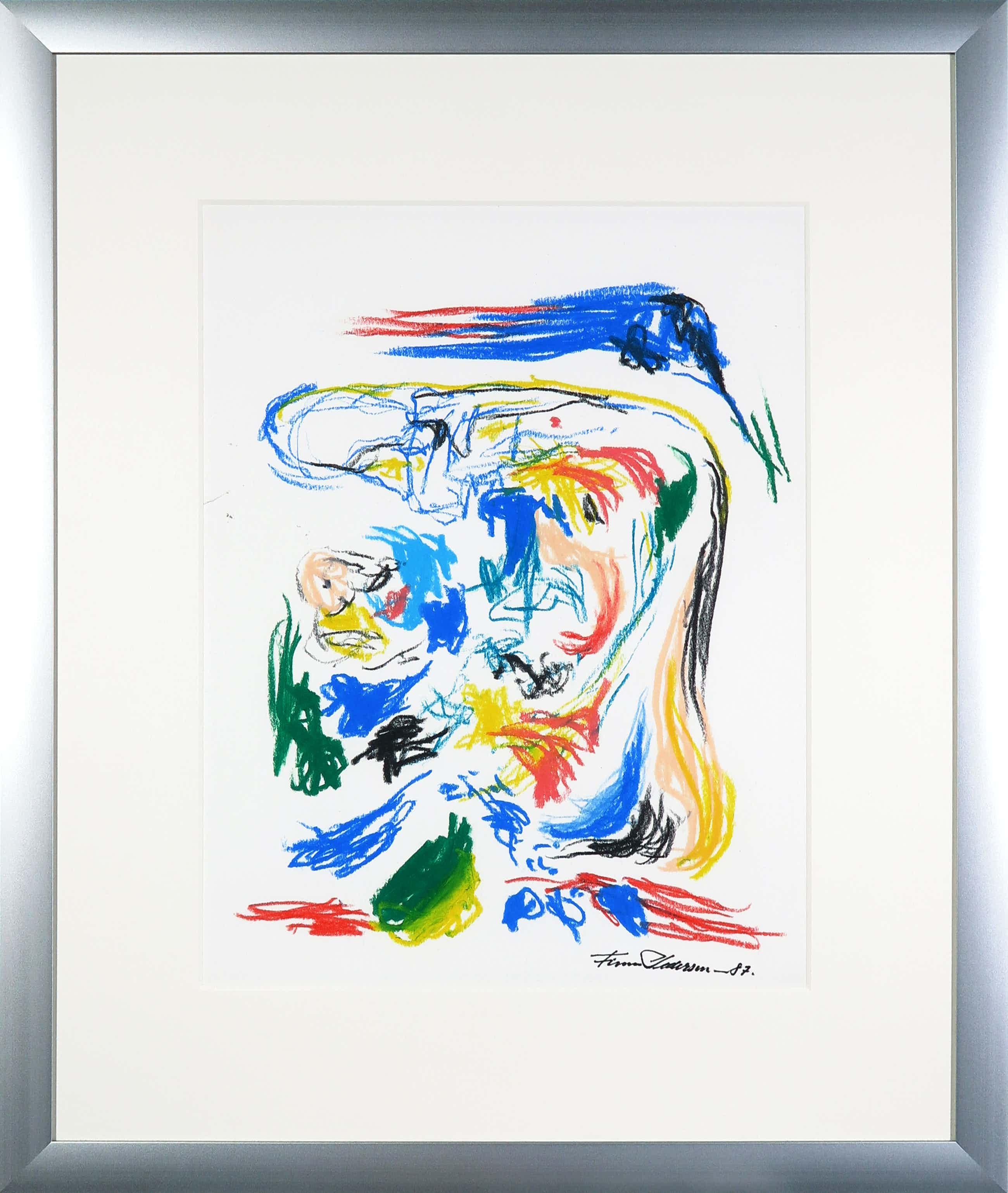 Finn Pedersen - Abstracte compositie in pastelkrijt - Ingelijst kopen? Bied vanaf 190!