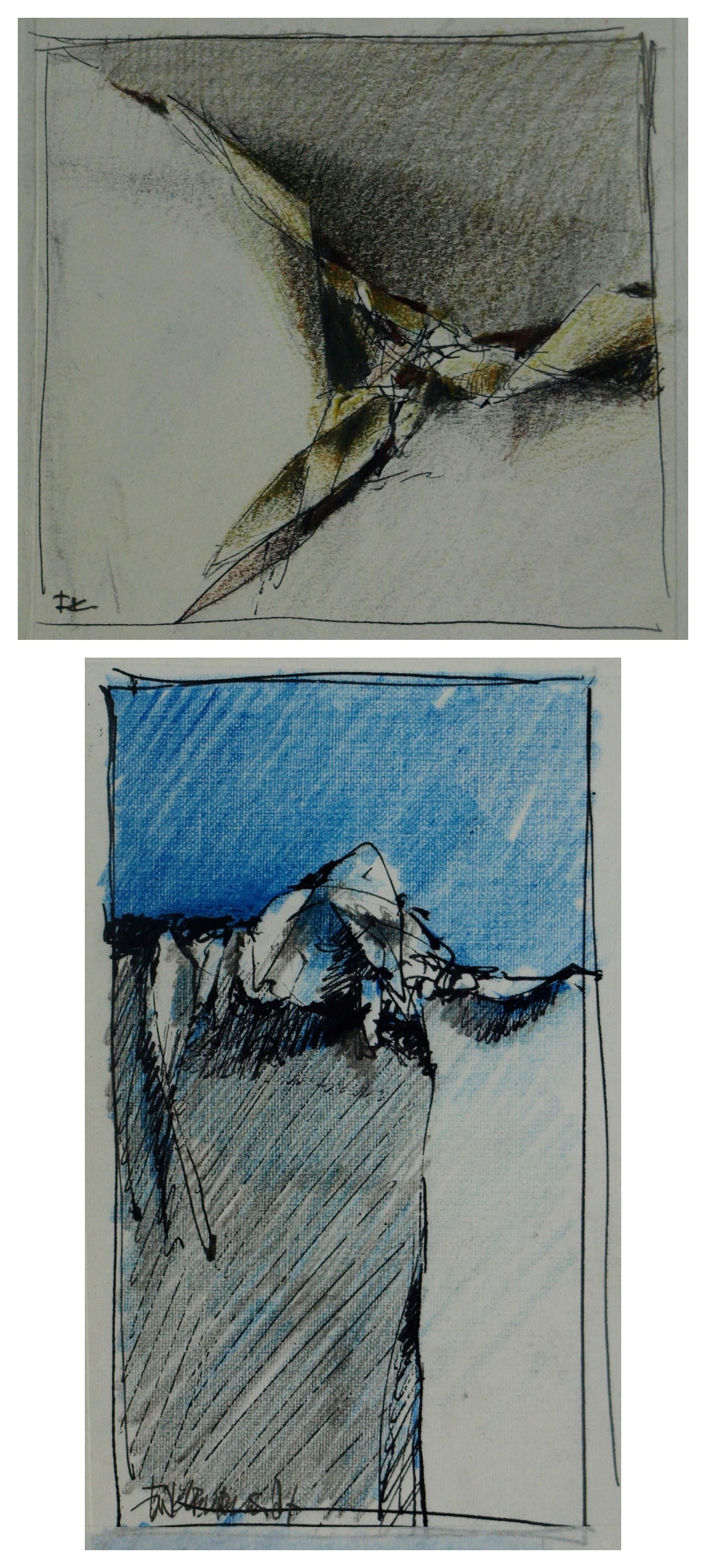 Fon Klement - 2 Tekeningen , schetsen - 1987 kopen? Bied vanaf 40!