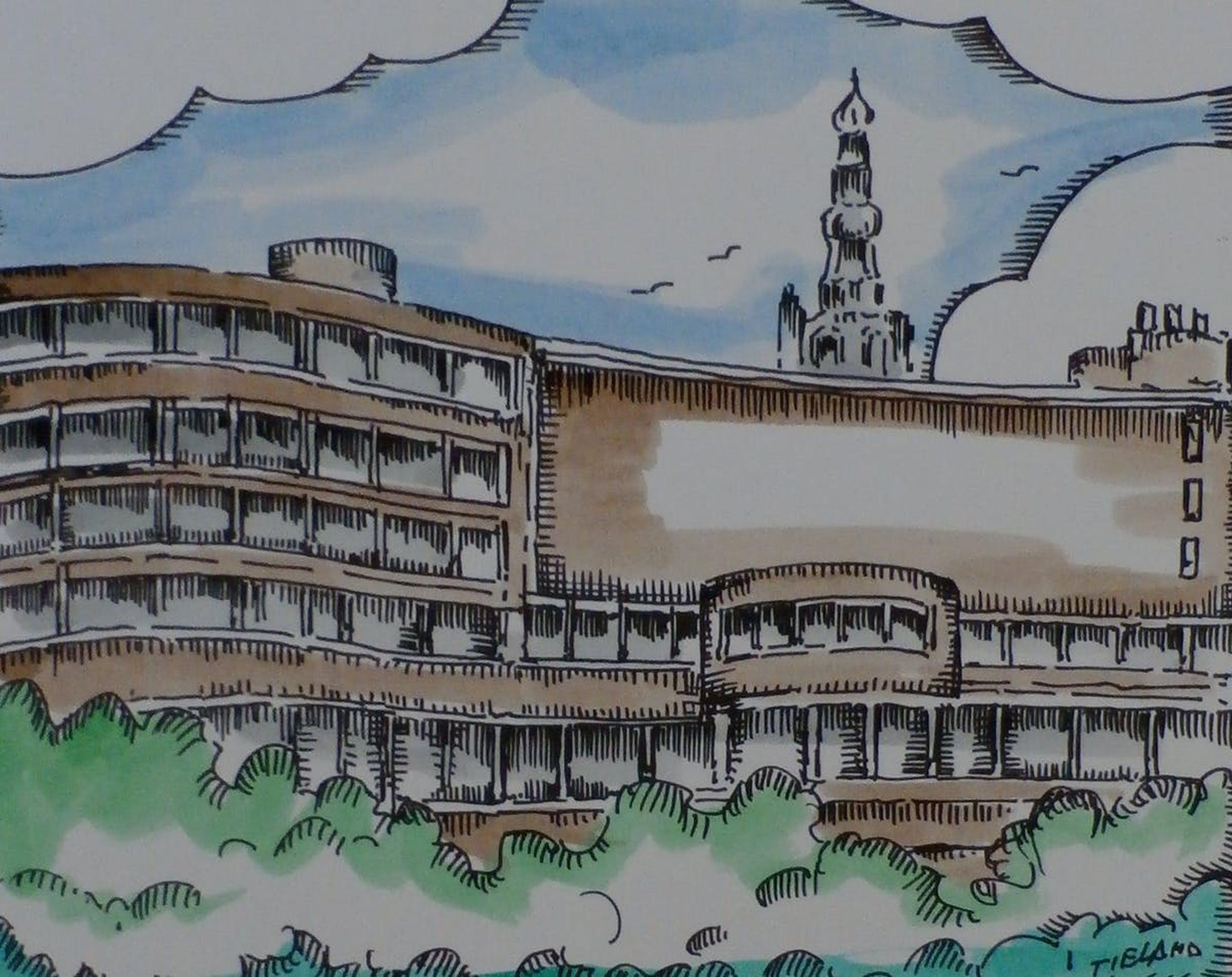 Toon Tieland - Handingekleurde litho: renovatie Stadhuis Amersfoort - 1988 kopen? Bied vanaf 60!