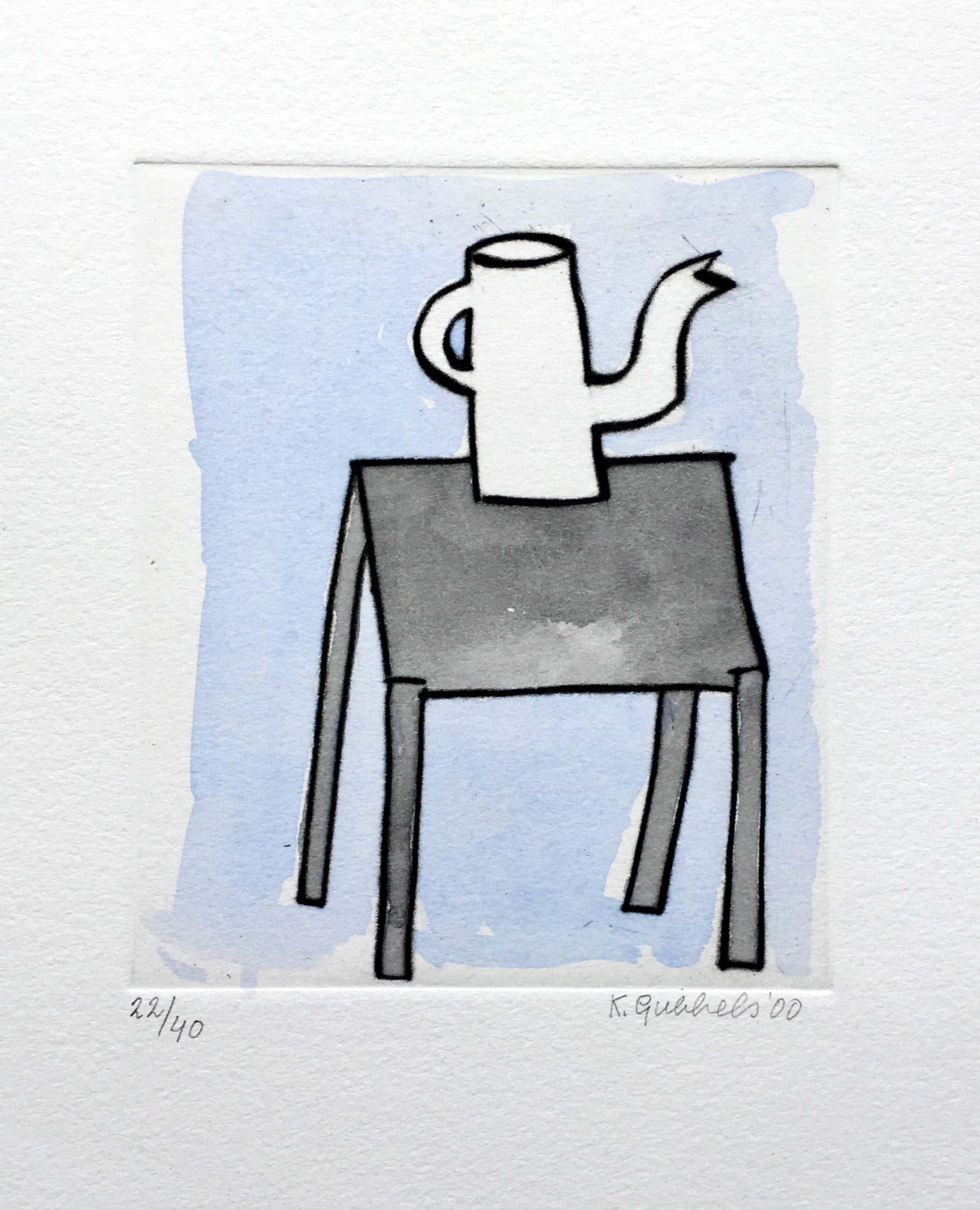 Klaas Gubbels - ets met aquarel ingekleurd - 'Kan op tafel' - oplage 40 ex kopen? Bied vanaf 245!