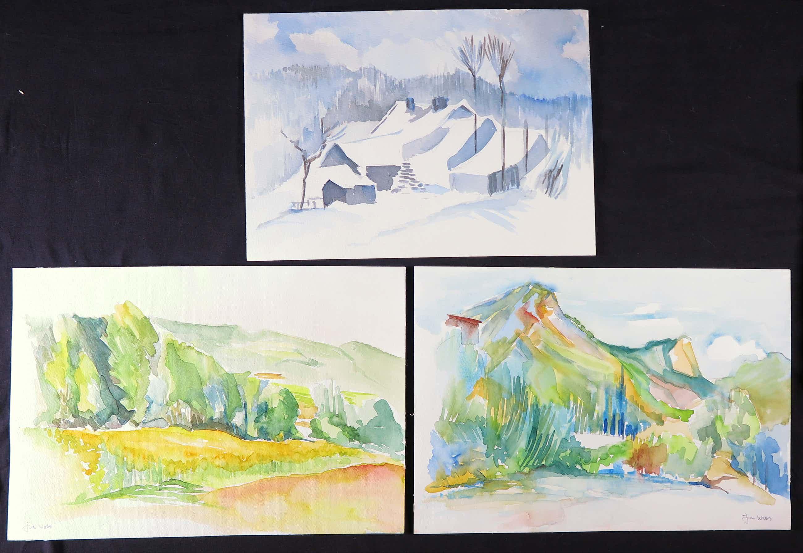 Joe Wols - Lot van 3 aquarellen op papier, Landschappen kopen? Bied vanaf 3!