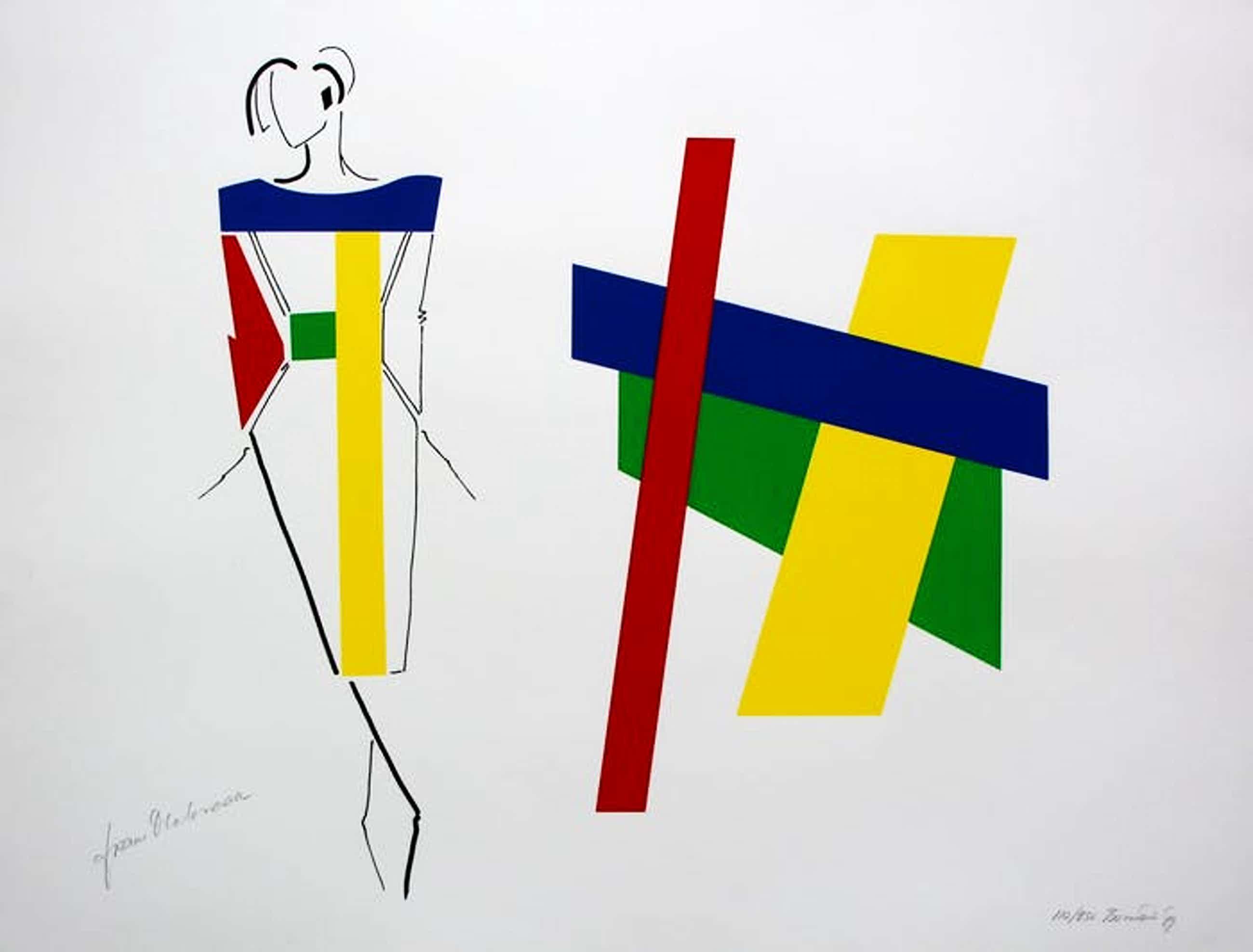 Bob Bonies - & Frans Molenaar: Abstracte compositie - Modeontwerp handgesigneerd 1989 kopen? Bied vanaf 100!