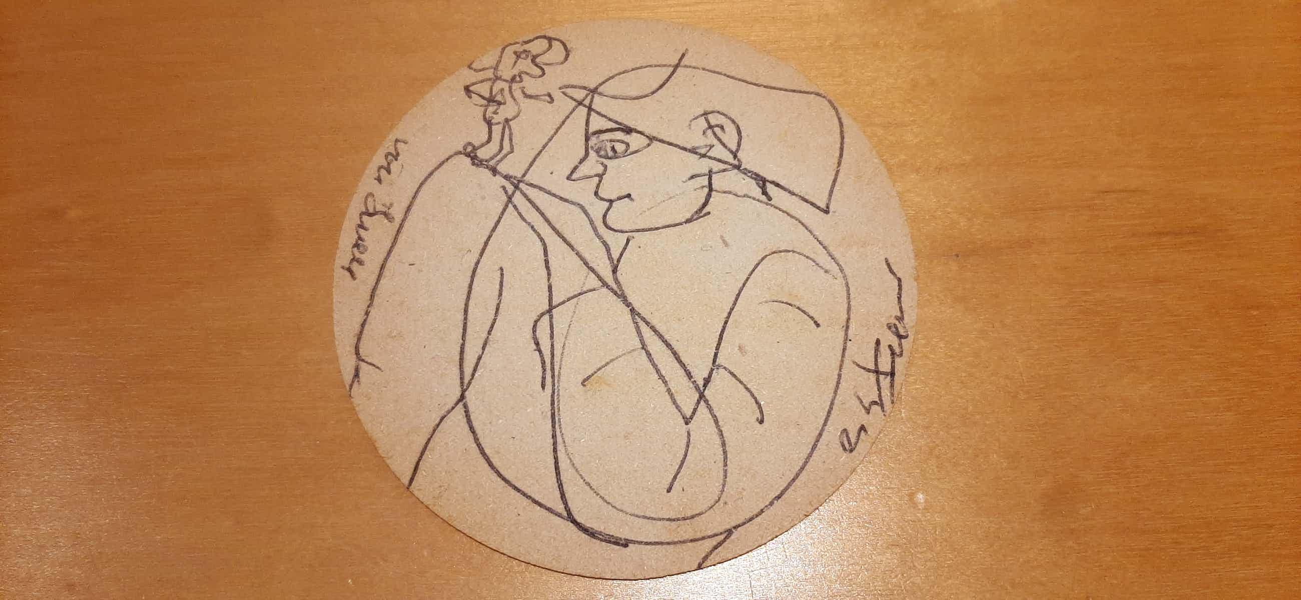 Gerard Fieret - Originele pentekening op een bierviltje kopen? Bied vanaf 55!